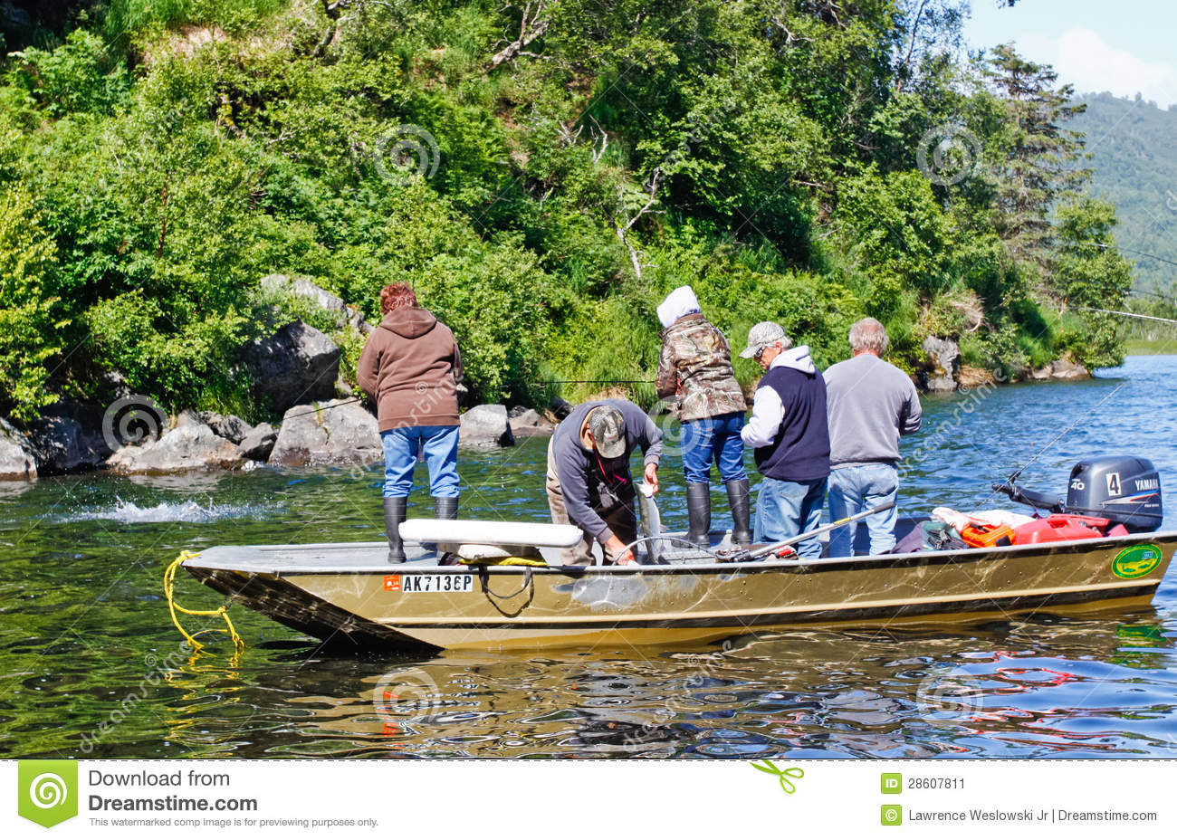 Alaska boat full of people fishing for salmon editorial for Videos of people fishing