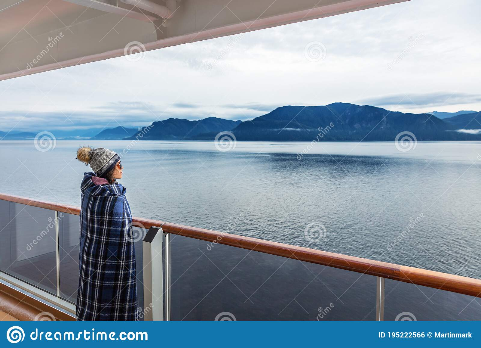 Alaska Cruise Travel Luxury Vacation Woman Watching Inside Passage Scenic Cruising Day On Balcony Deck Enjoying View Of Stock Photo Image Of Holidays Ocean 195222566