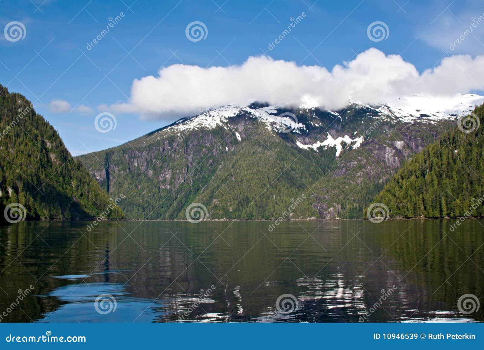Alaska fjord misty