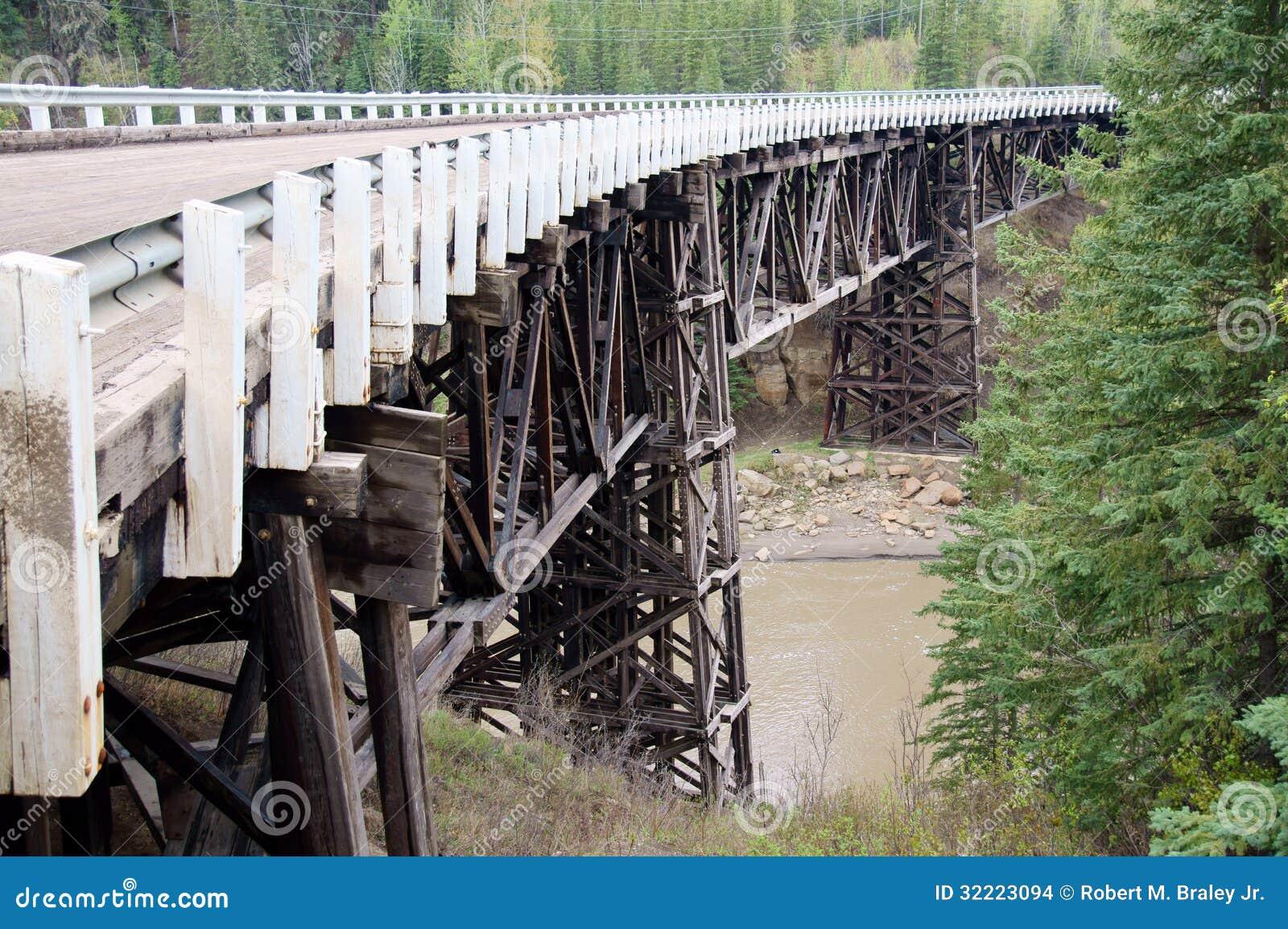 Alaska Highway Historical Wooden Bridge Stock Photo Image Of