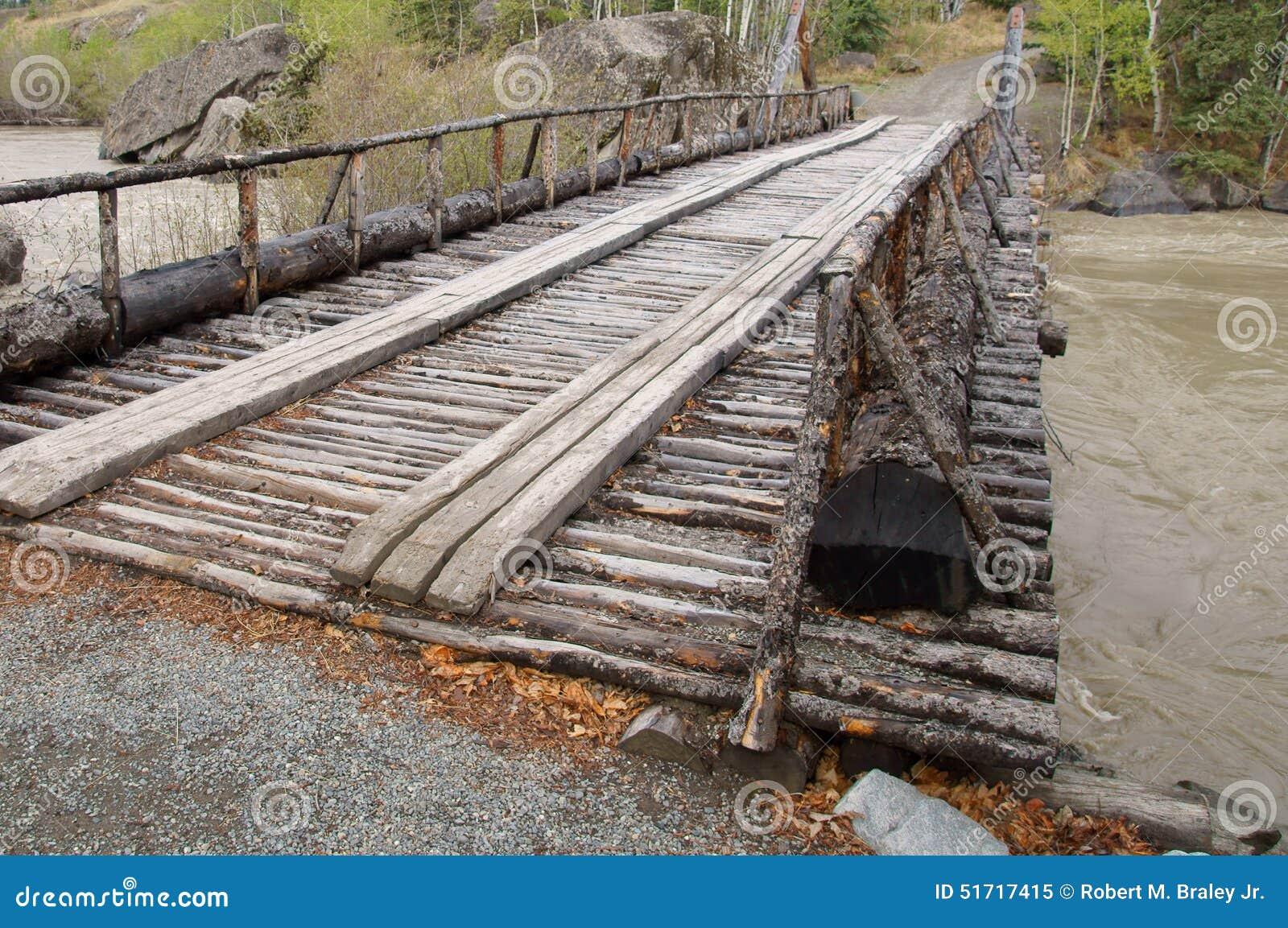 Alaska Highway River Wooden Bridge
