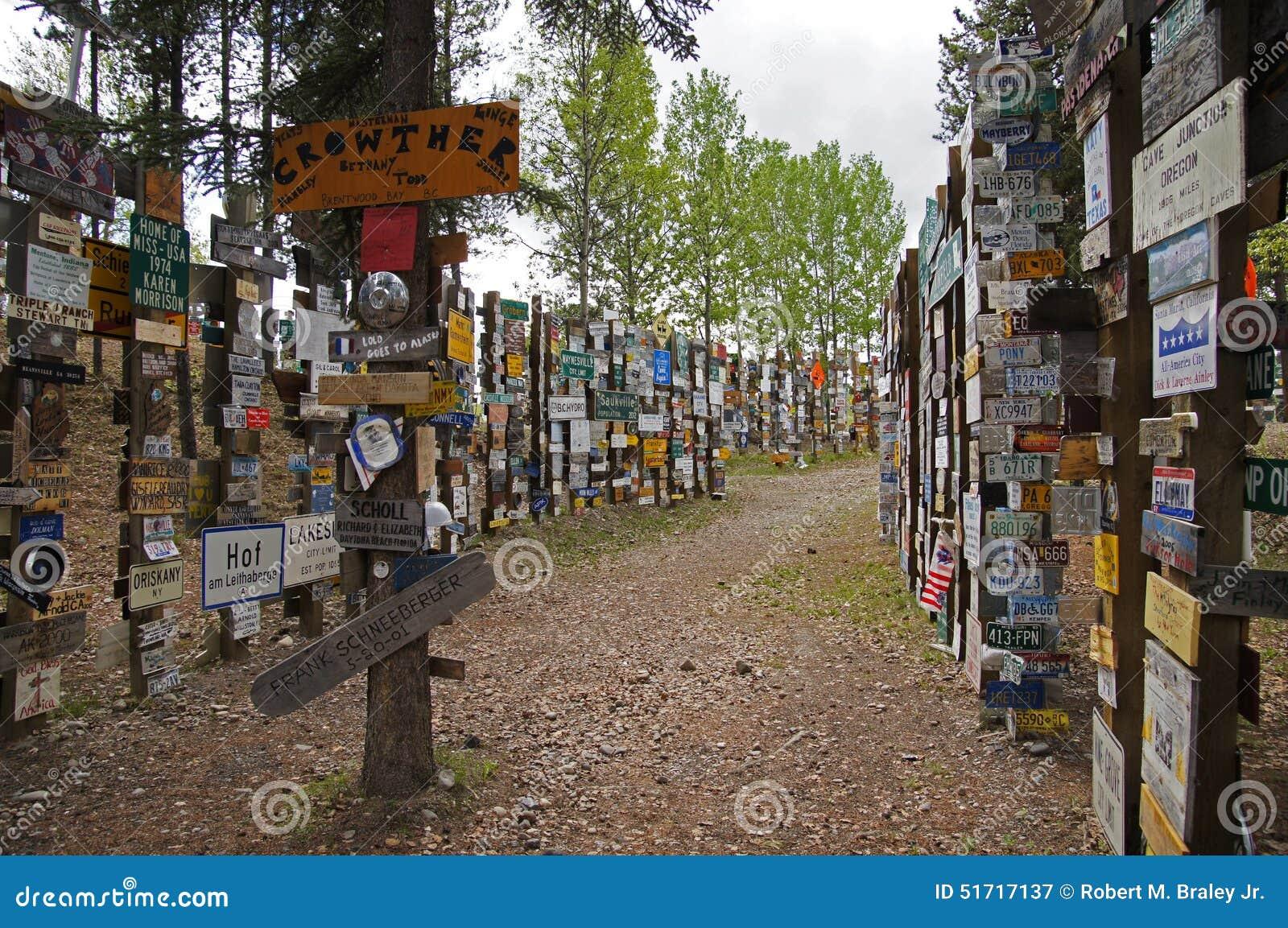 Alaska Highway Sign Forest