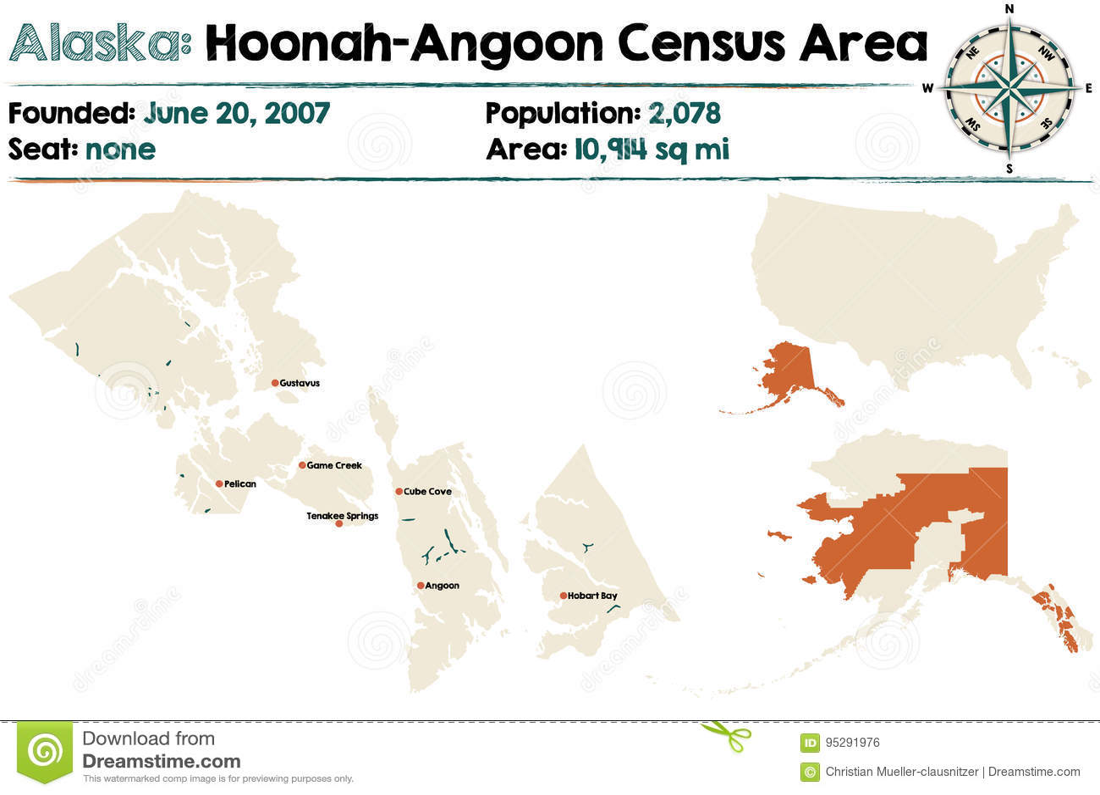 Huna Alaska Map.Alaska Hoonah Angoon Census Area Stock Vector Illustration Of