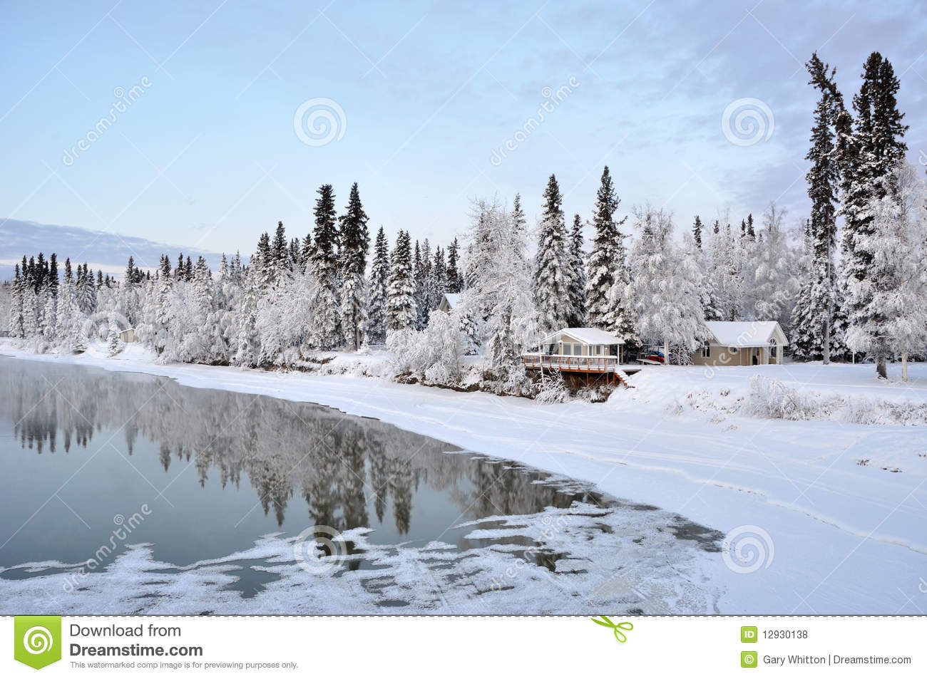Alaska House On The River In Winter Royalty Free Stock