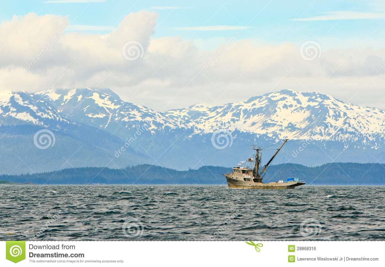 Alaska Lonely Commercial Fishing Boat Editorial Photo