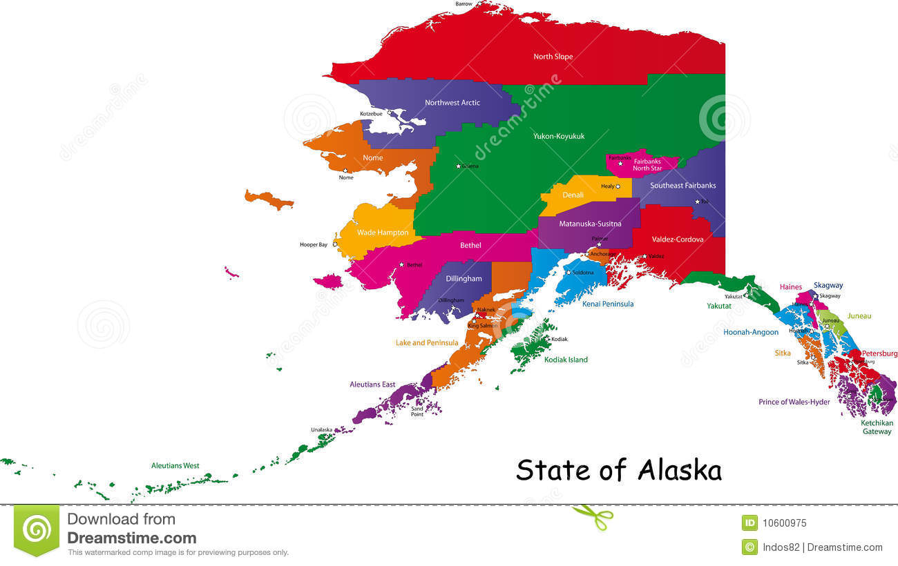 Alaska Map Royalty Free Stock Photo Image - Alaska county map