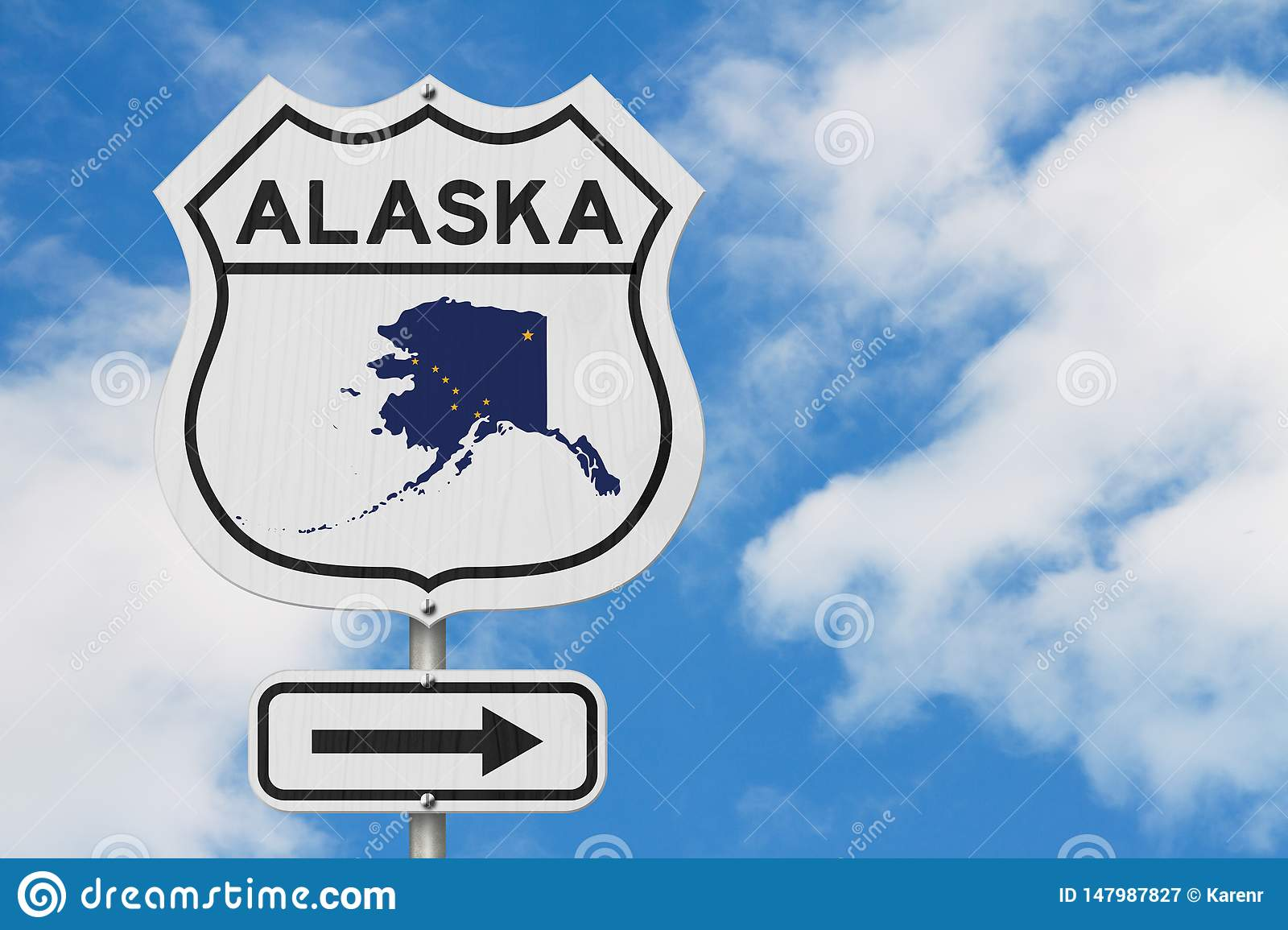 Alaska Map And State Flag On A USA Highway Road Sign Stock ...