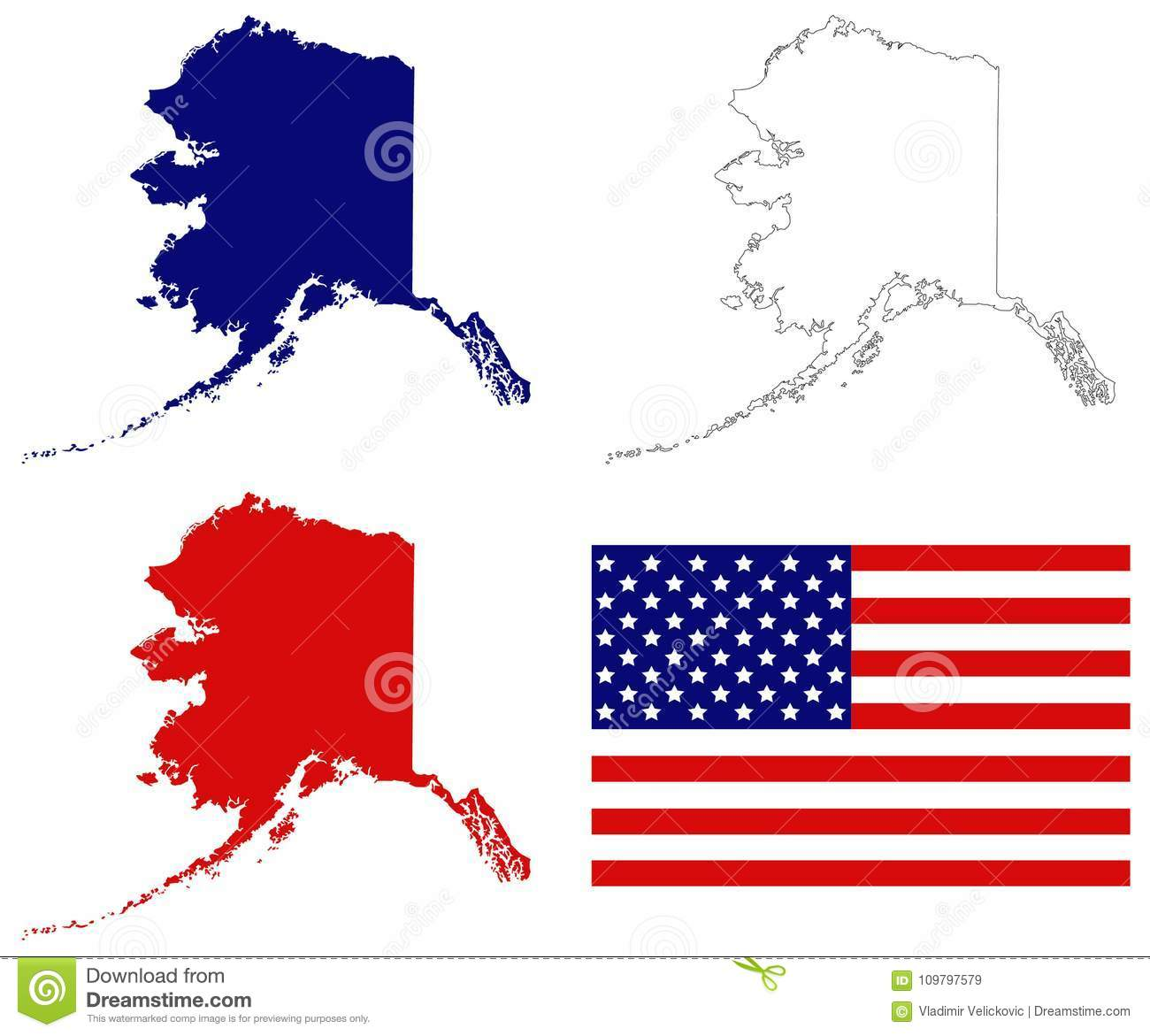 Alaska Map With Usa Flag State Of The United States Stock Vector