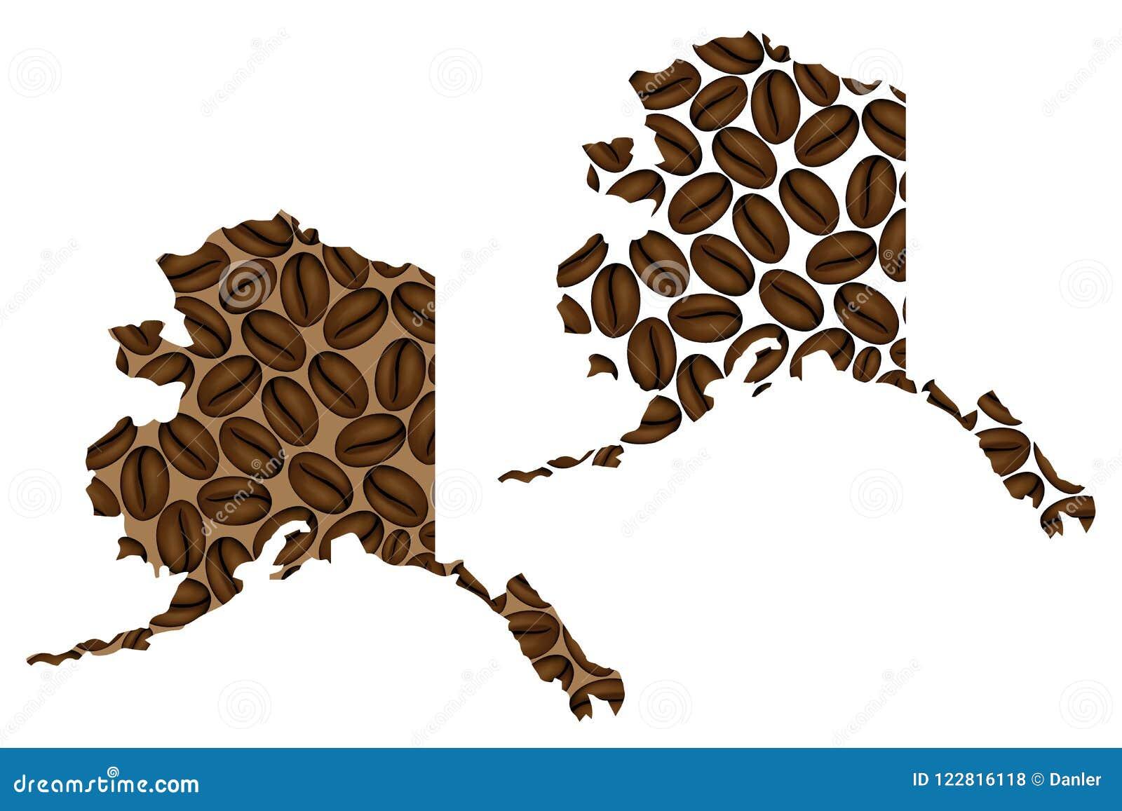 Alaska - mapa do feijão de café
