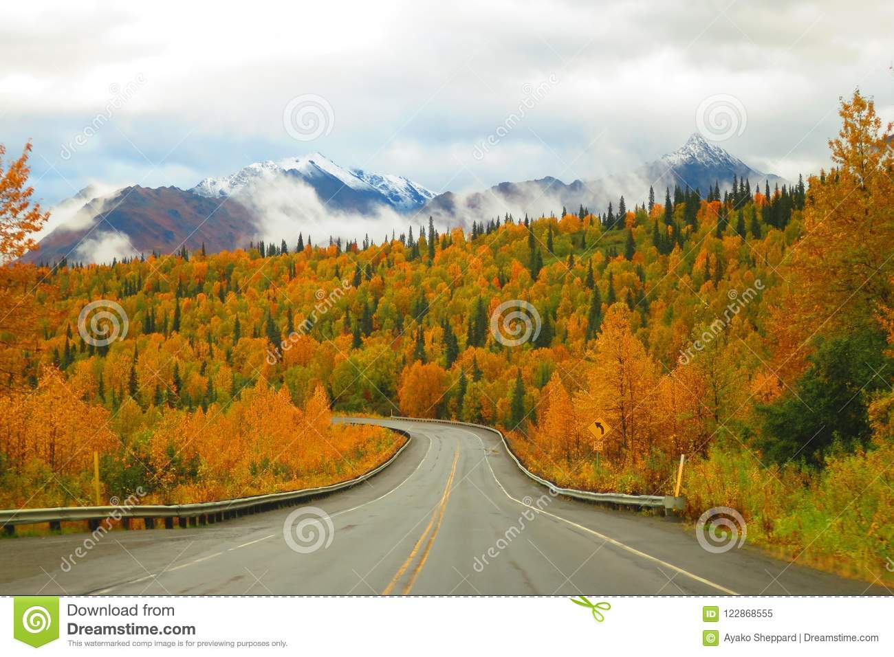 Alaska Mountain Range And Autumn Color On The Parks ...
