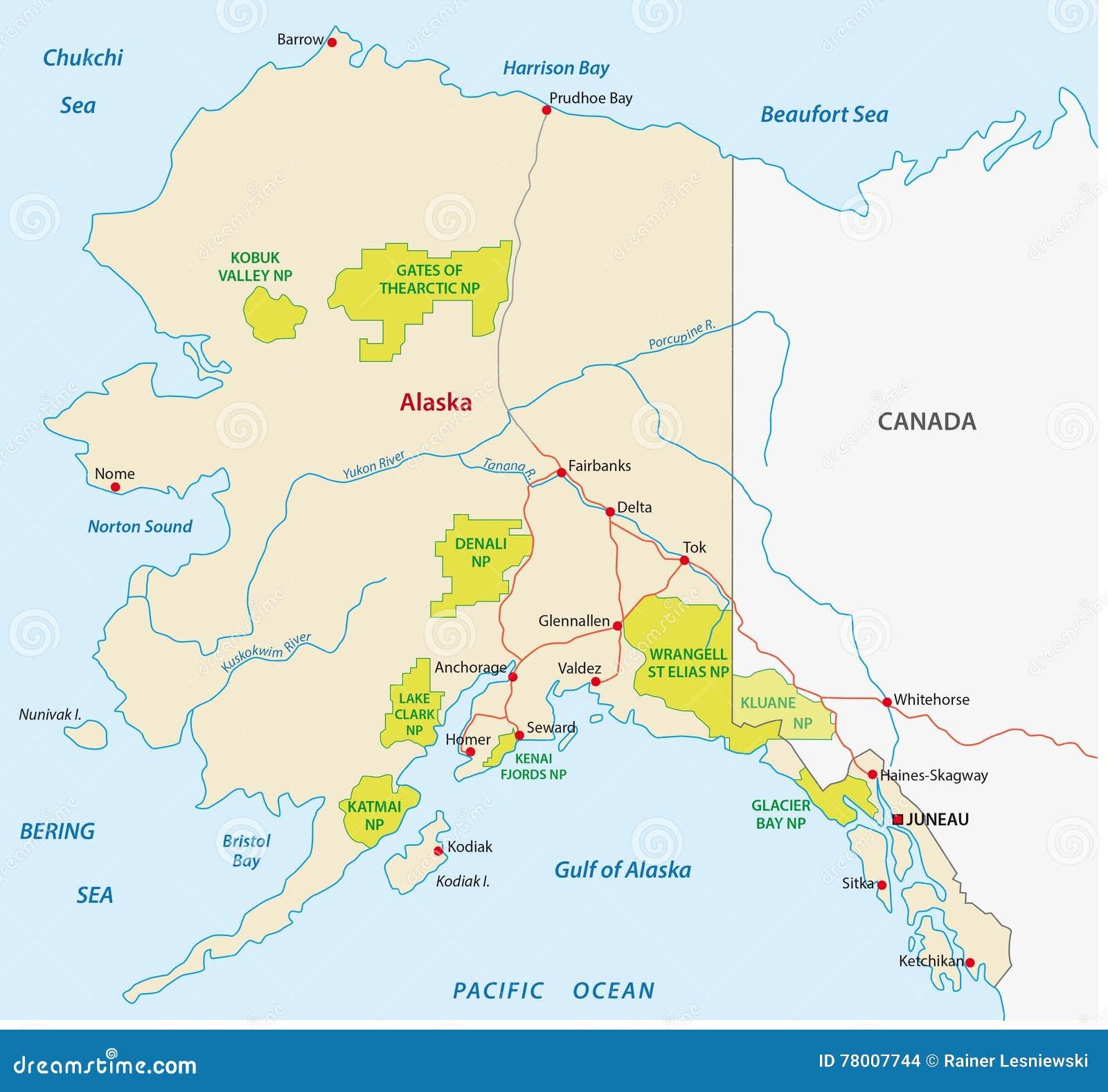 Alaska Parka Narodowego Mapa Ilustracja Wektor Ilustracja