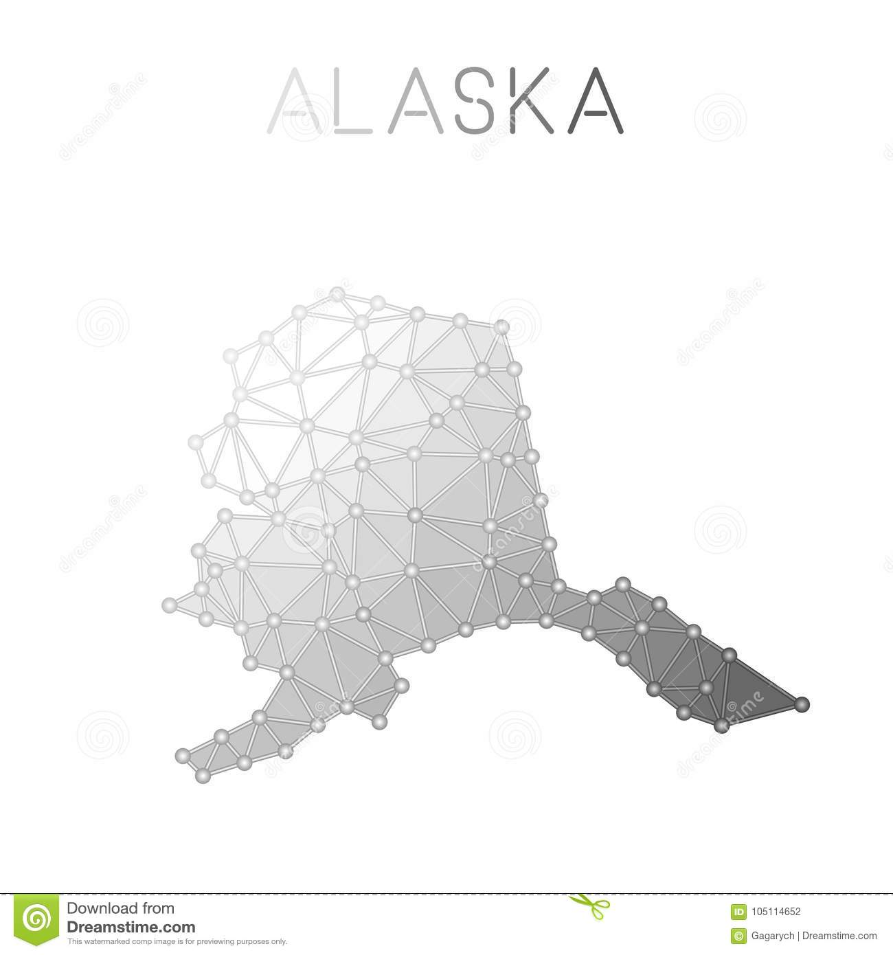 photograph about Printable Map of Alaska named Alaska Polygonal Vector Map. Inventory Vector - Case in point of