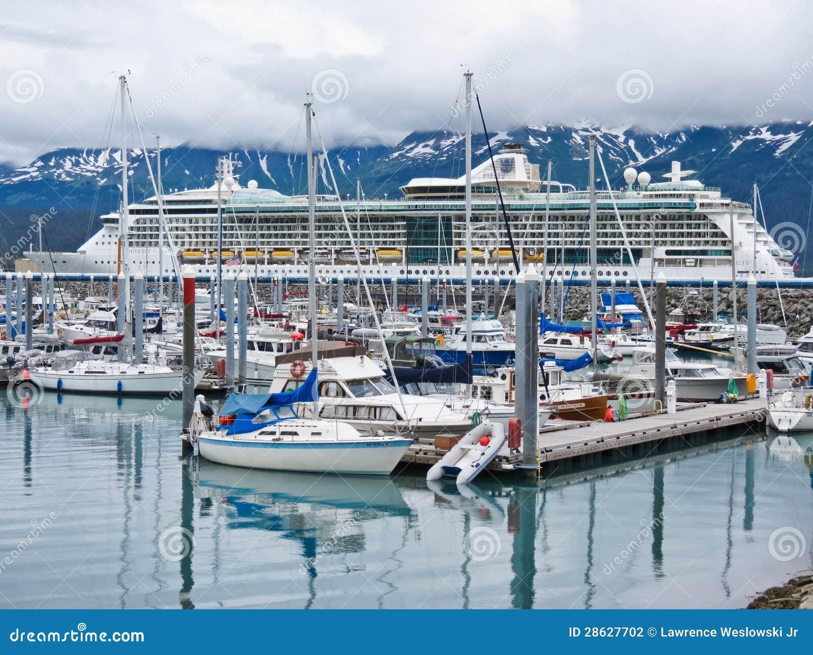 Alaska Seward Small Boat Harbor And Cruise Ship Editorial