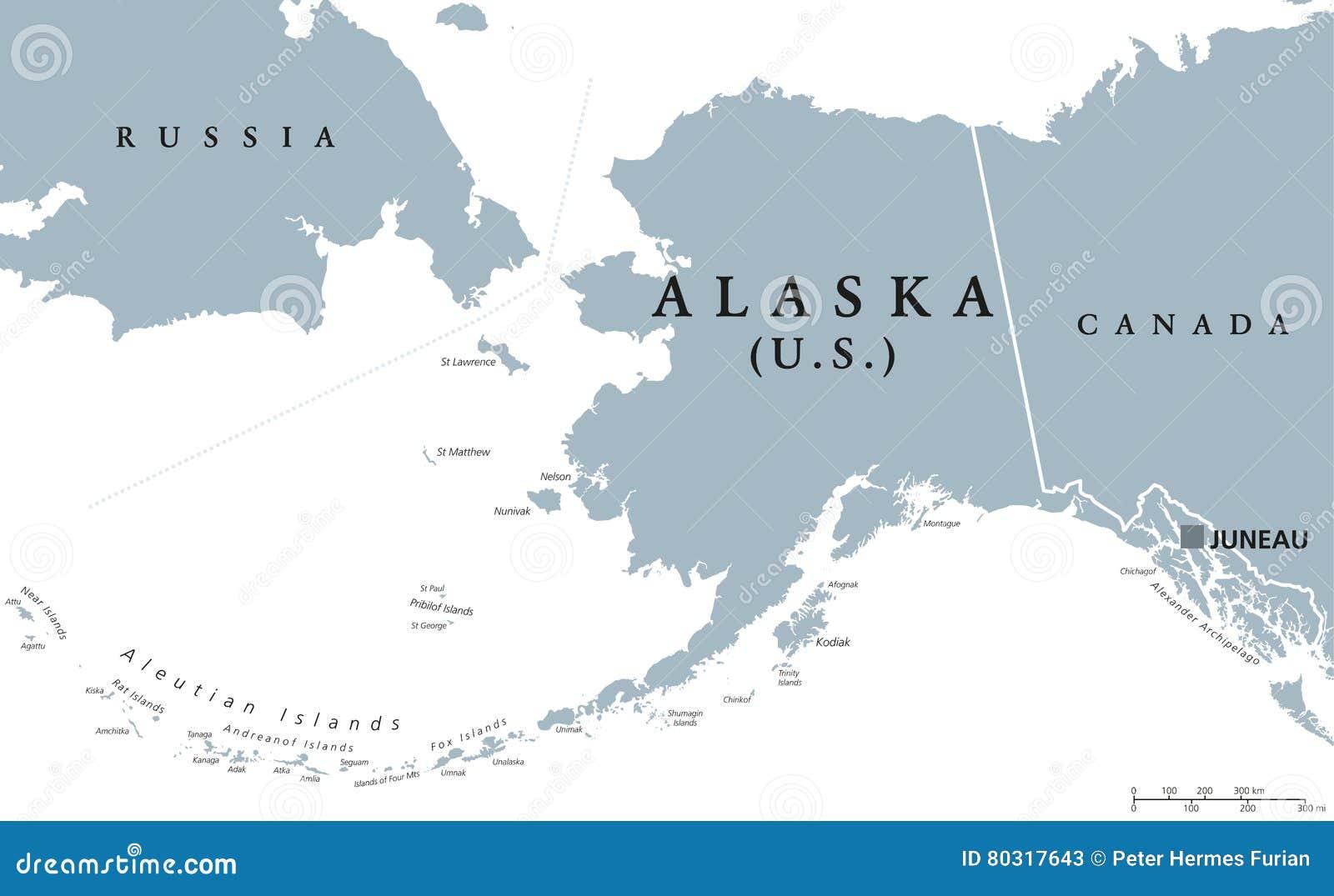 Alaska Stanu Usa Polityczna Mapa Ilustracja Wektor Ilustracja