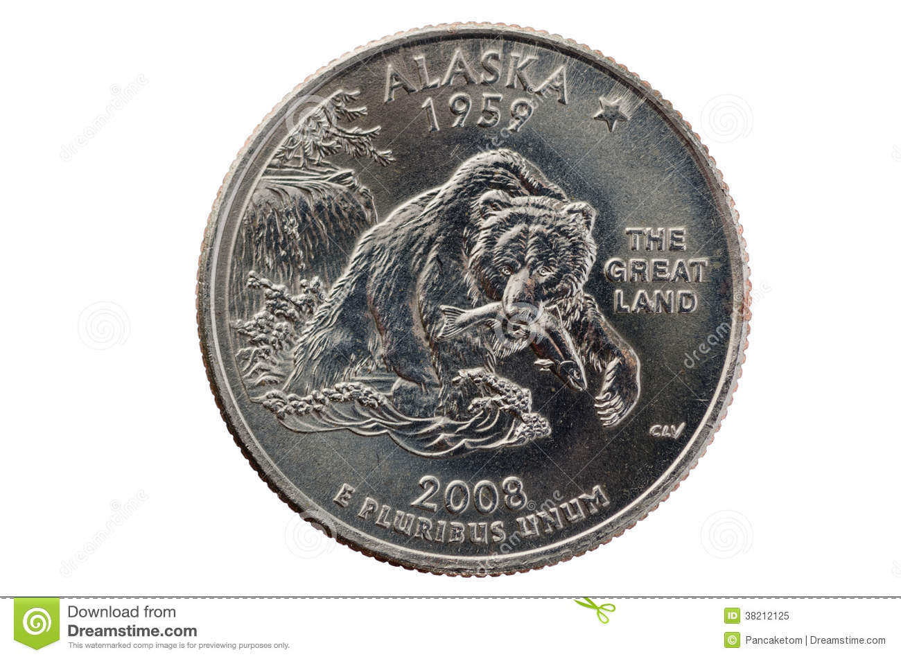 Alaska State Quarter Coin Royalty Free Stock Photo Image