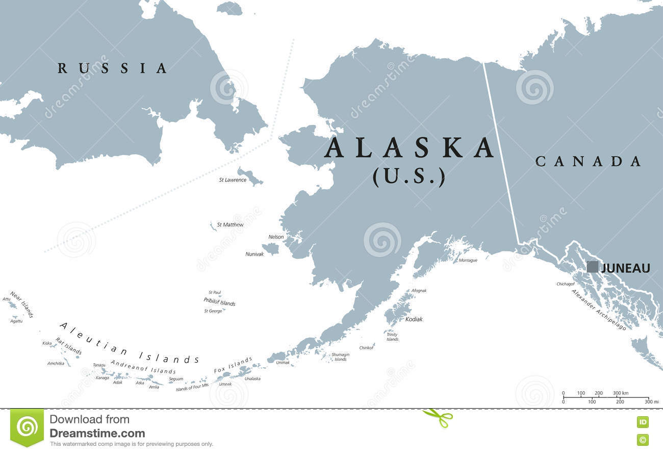 Alaska US State Political Map Stock Vector Image - Alaska us map