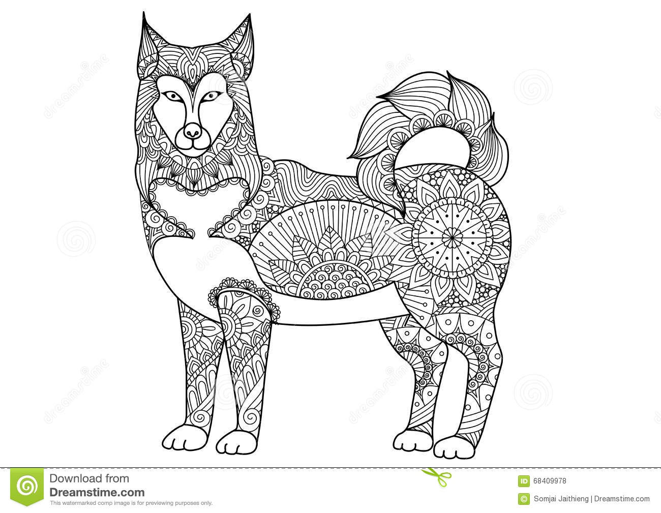 Tattoo designs coloring book - Alaskan Malamute Dog Line Art Design For Tattoo T Shirt Design Coloring Book For Adult And So On Stock