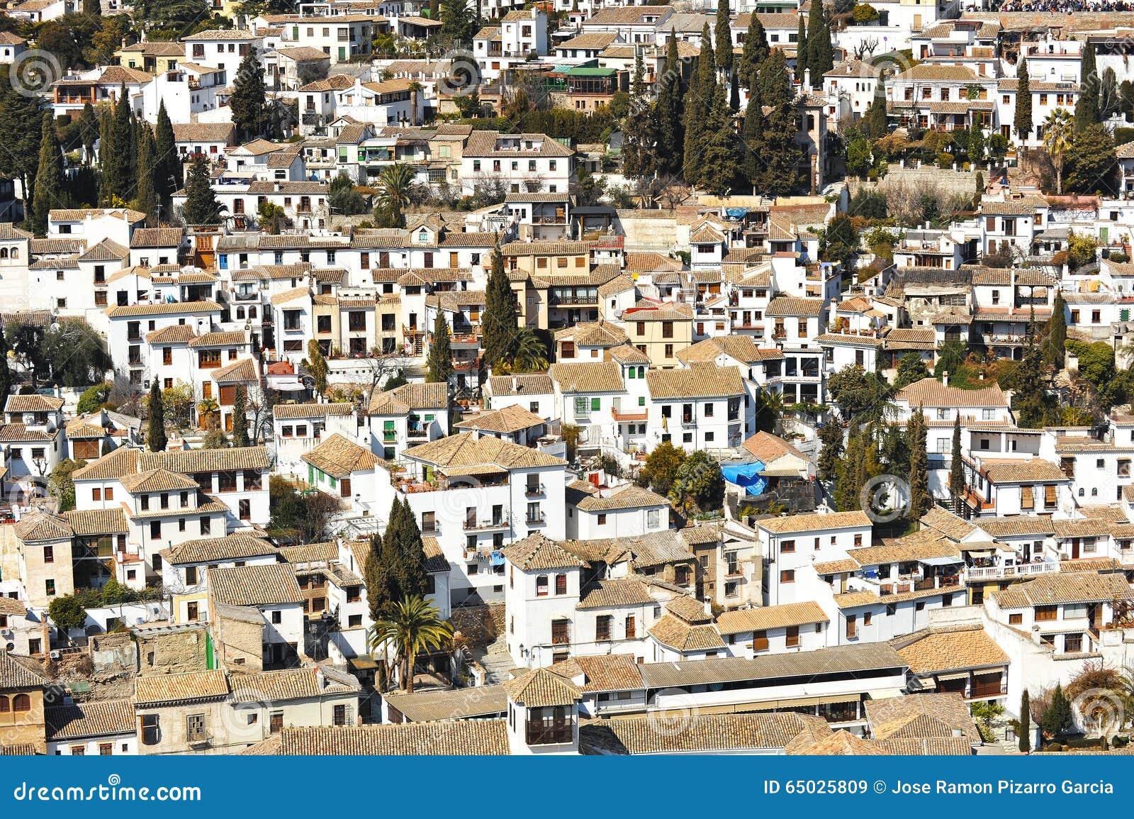 Albaicin, Granada, Spain stock image  Image of comares
