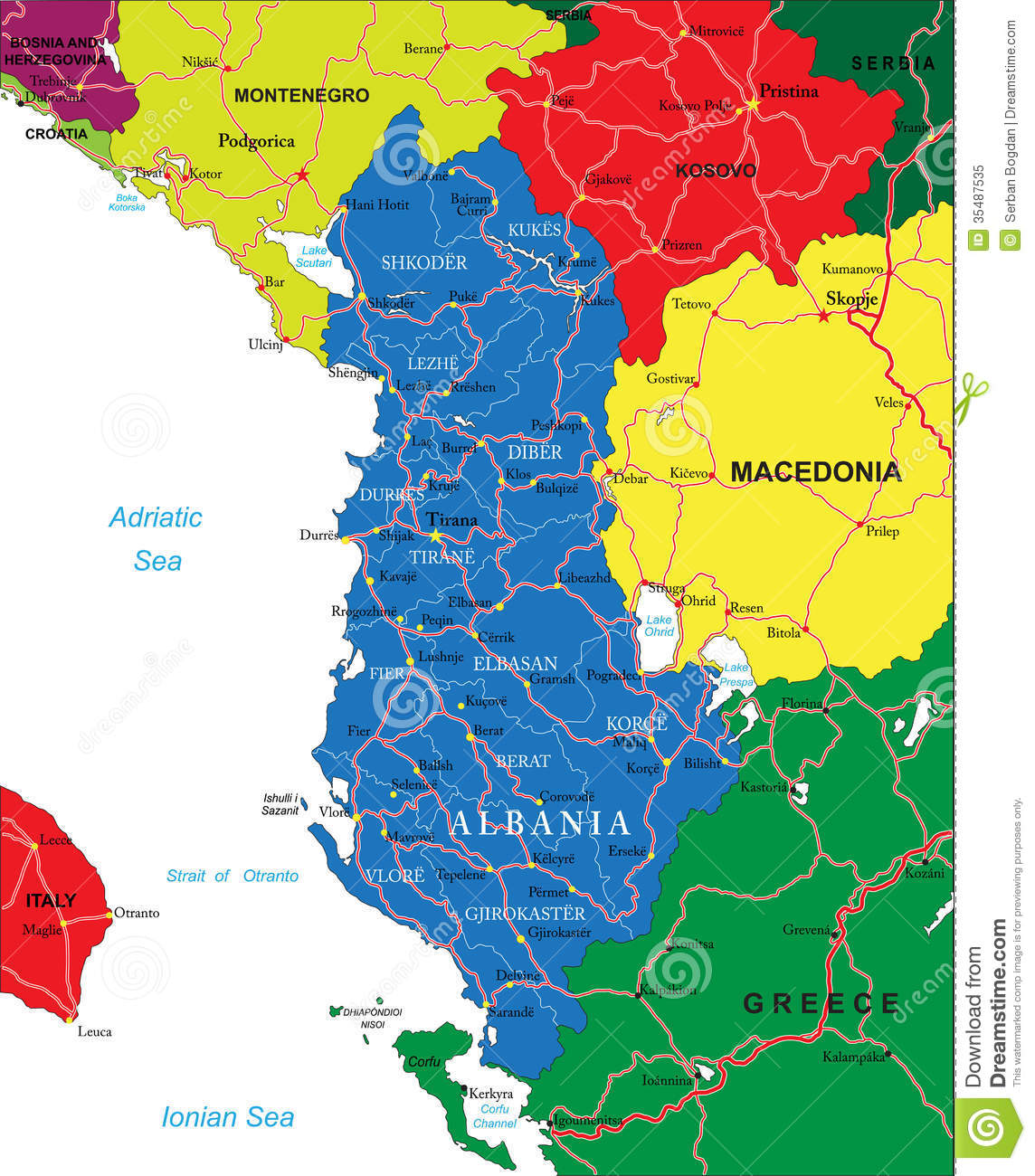 ... map of Albania with administrative regions, main cities and roads