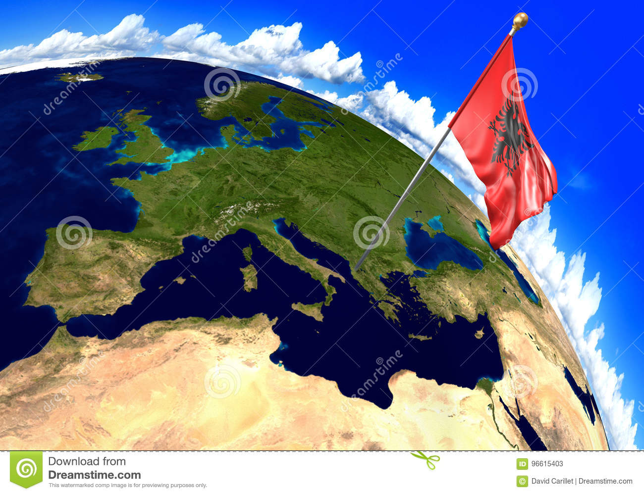 Albania National Flag Marking The Country Location On World Map