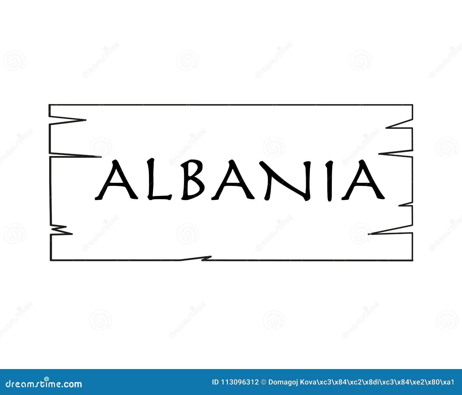 Albania, Nombre De País Escrito En El Fondo Blanco, Marco De Madera ...