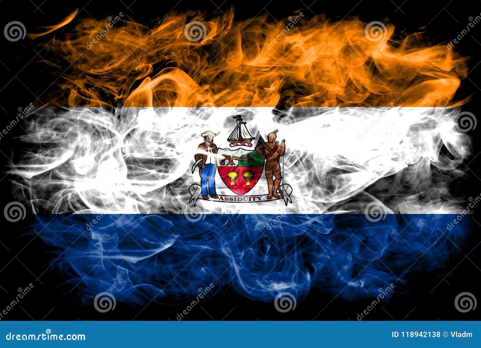 Albanien-Stadtrauchflagge, Staat New York, die Vereinigten Staaten von Amerika