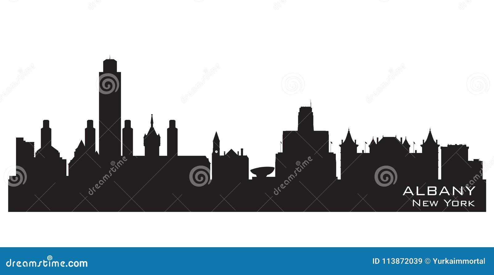 Albany New York City Skyline Vector Silhouette Stock Vector