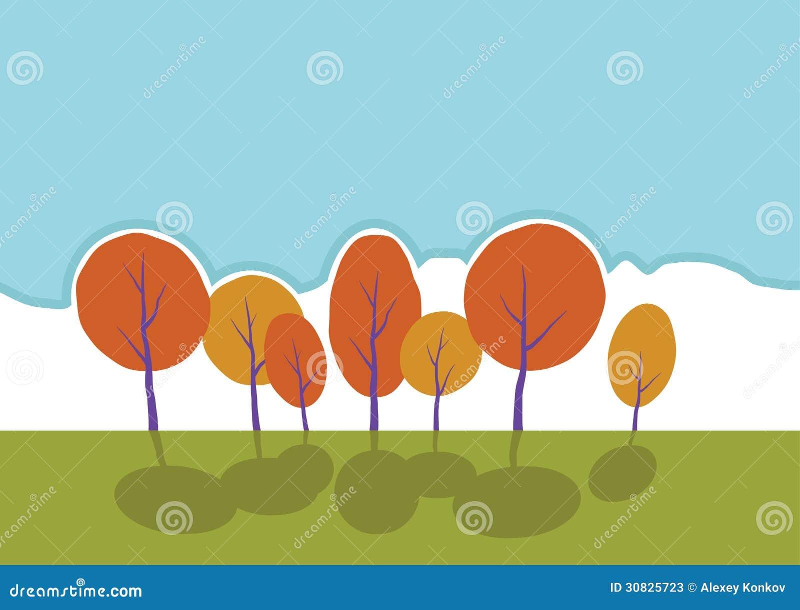 Alberi di autunno in parco. Paesaggio del fumetto di vettore.