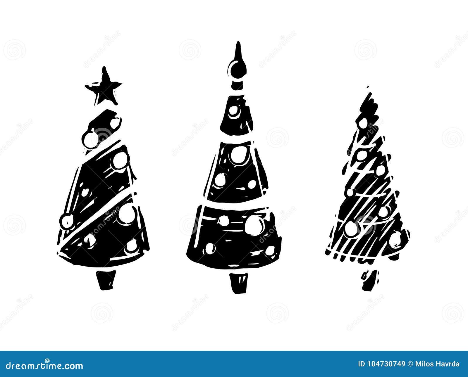 Immagini Di Natale In Bianco E Nero.Alberi Di Natale In Bianco E Nero Illustrazione Vettoriale