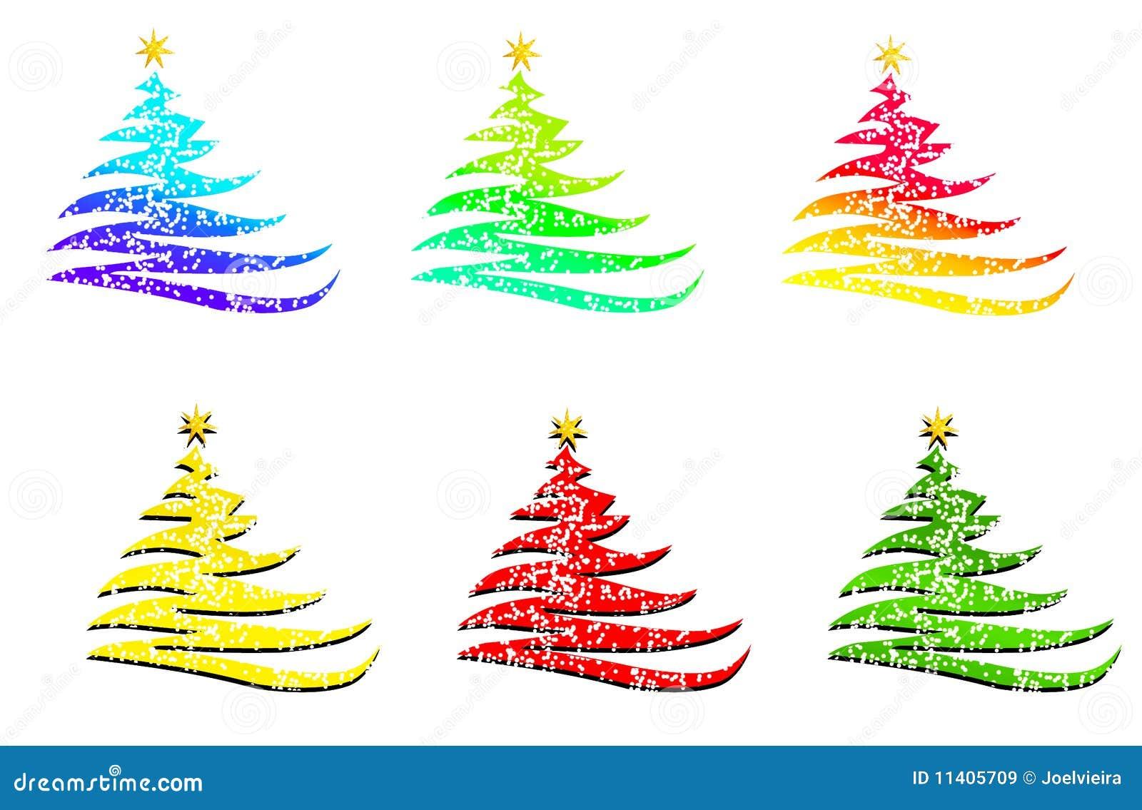 Alberi di natale nei colori differenti illustrazione di - Immagini di tacchini a colori ...