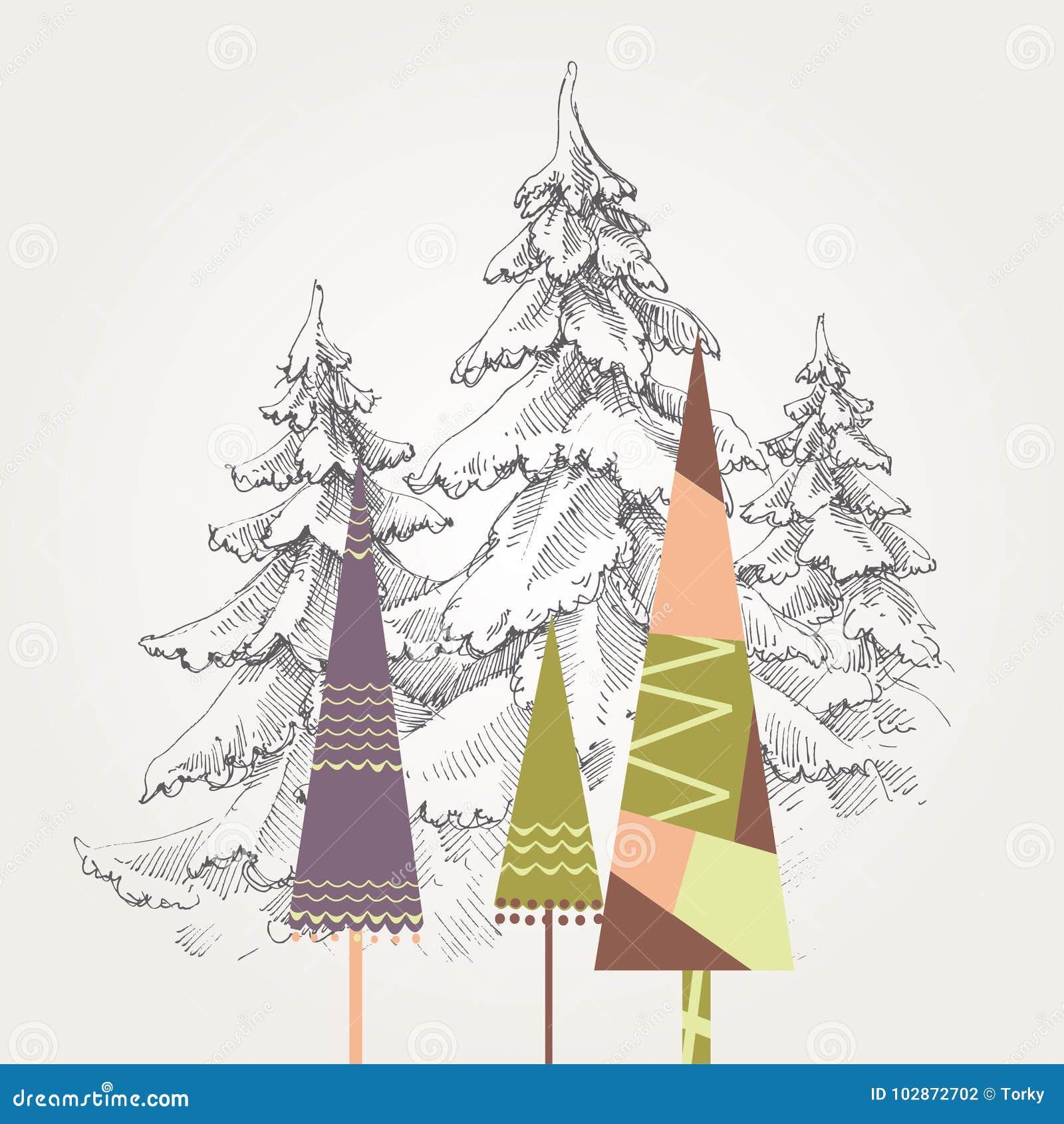 Immagini Stilizzate Di Natale.Alberi Di Natale Stilizzati Illustrazione Vettoriale