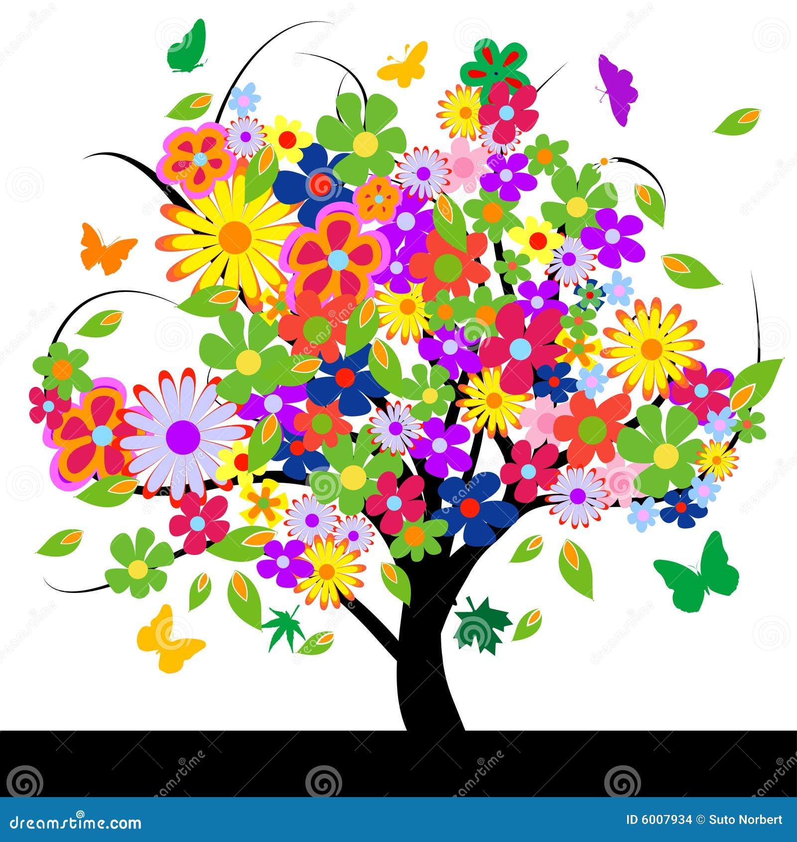 Albero astratto con i fiori illustrazione vettoriale for Albero con fiori blu