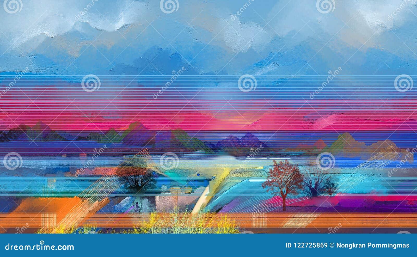 Albero astratto dei semi, campo, prato Natura del paesaggio di astrazione