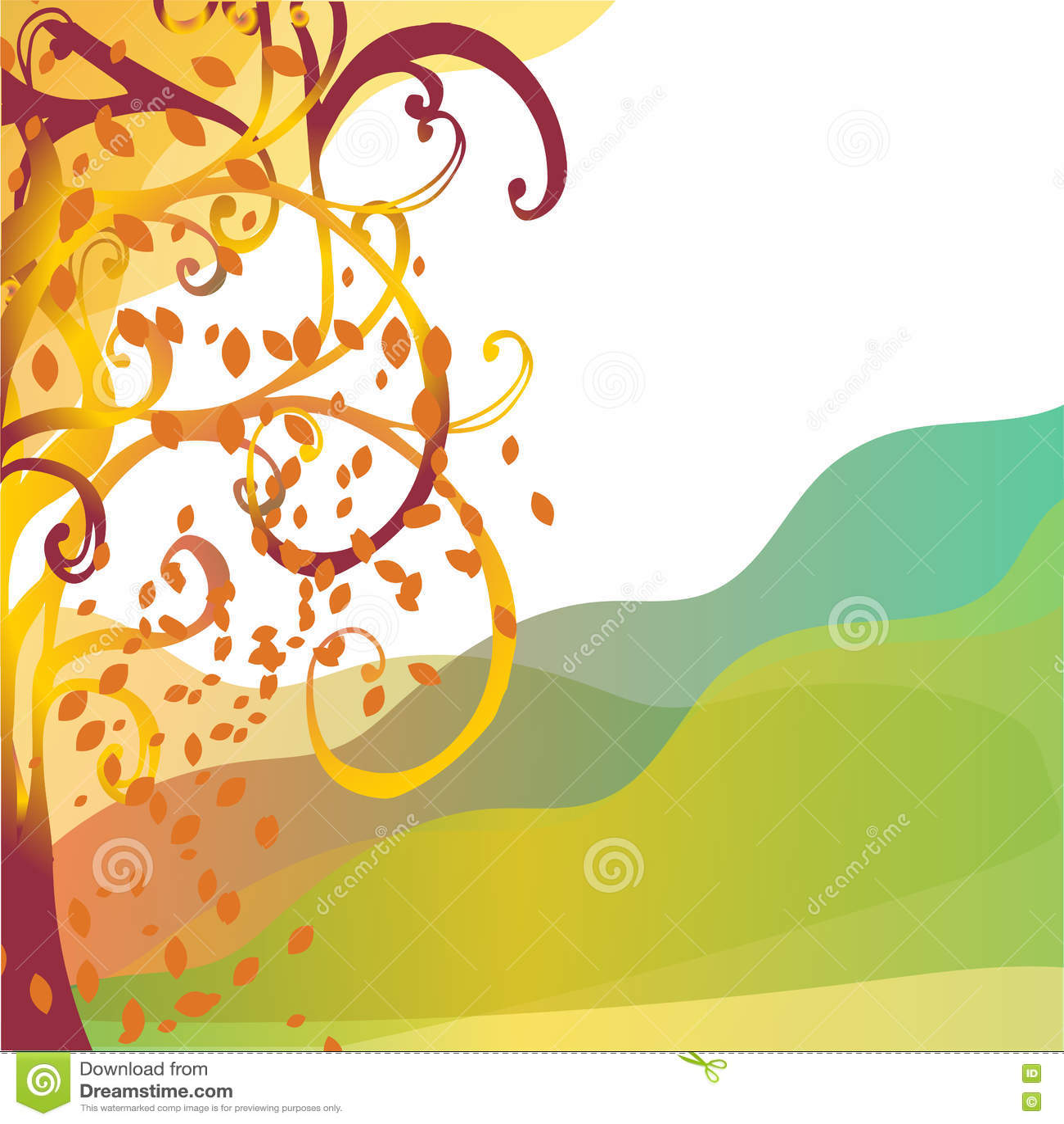 Albero astratto di autunno del fondo con le foglie gialle
