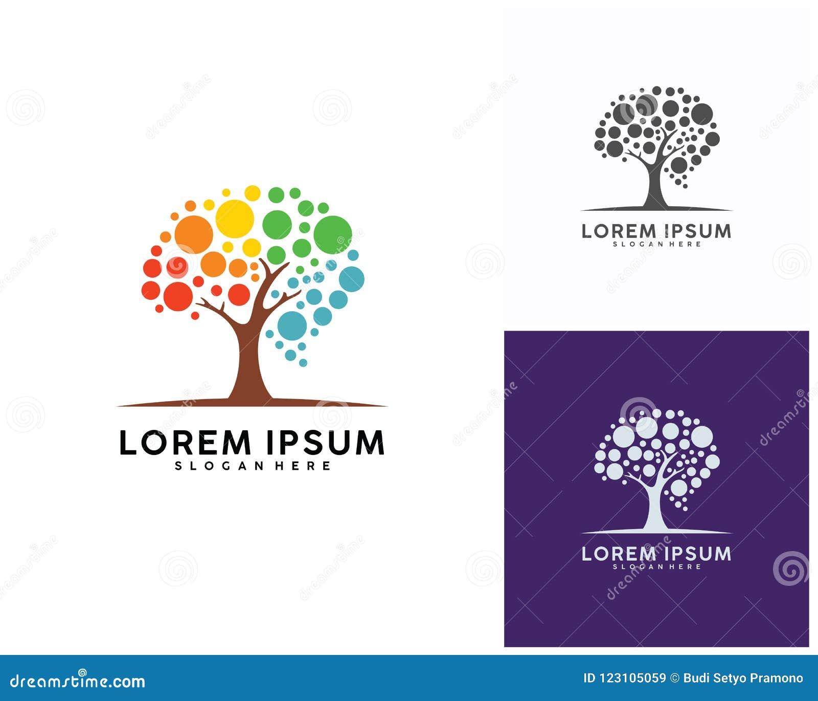 Albero con il modello di progettazione di logo del cervello, vettore di progettazione di logo di Brain Colorful