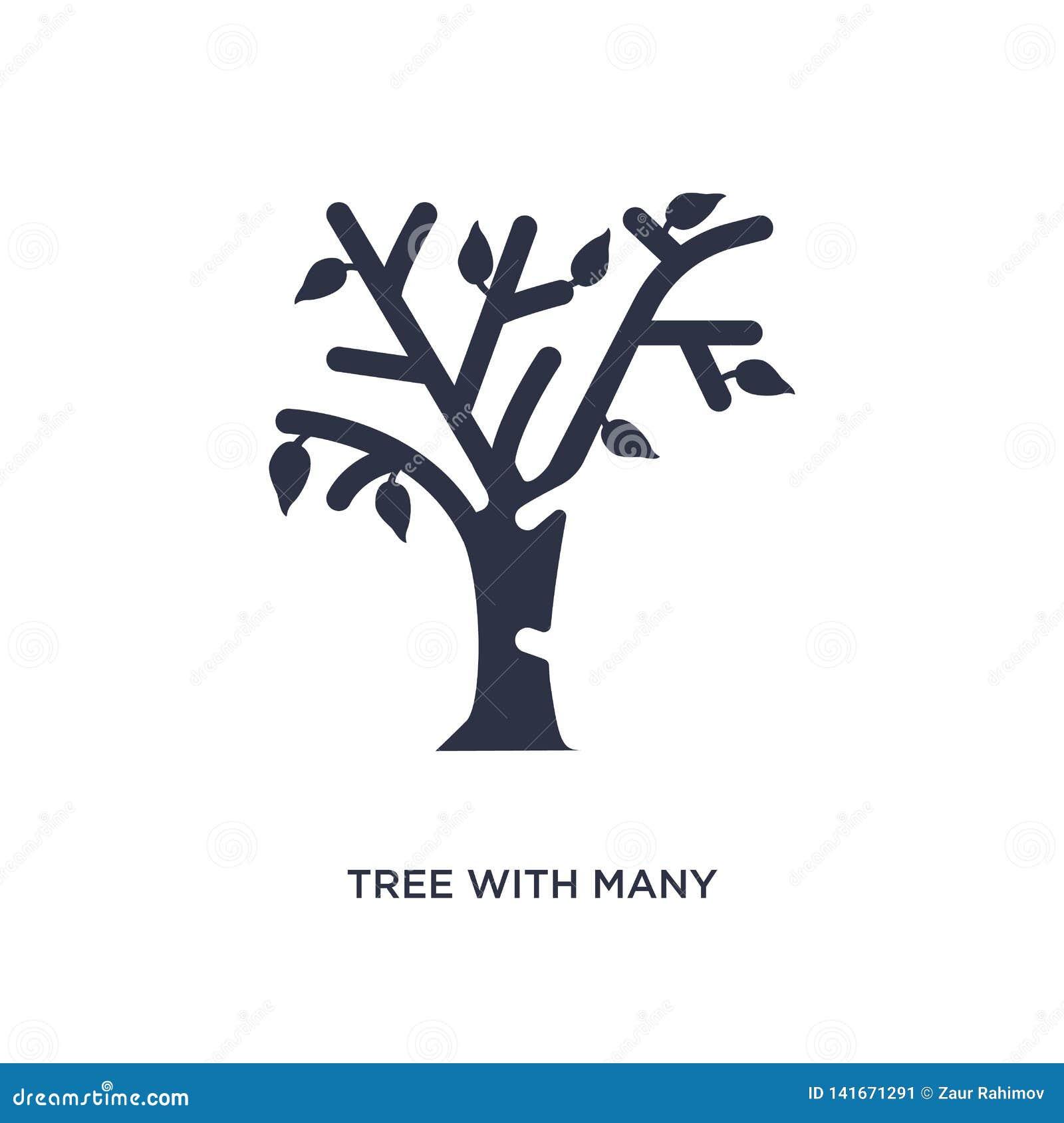 Albero con l icona di molte foglie su fondo bianco Illustrazione semplice dell elemento dal concetto di ecologia