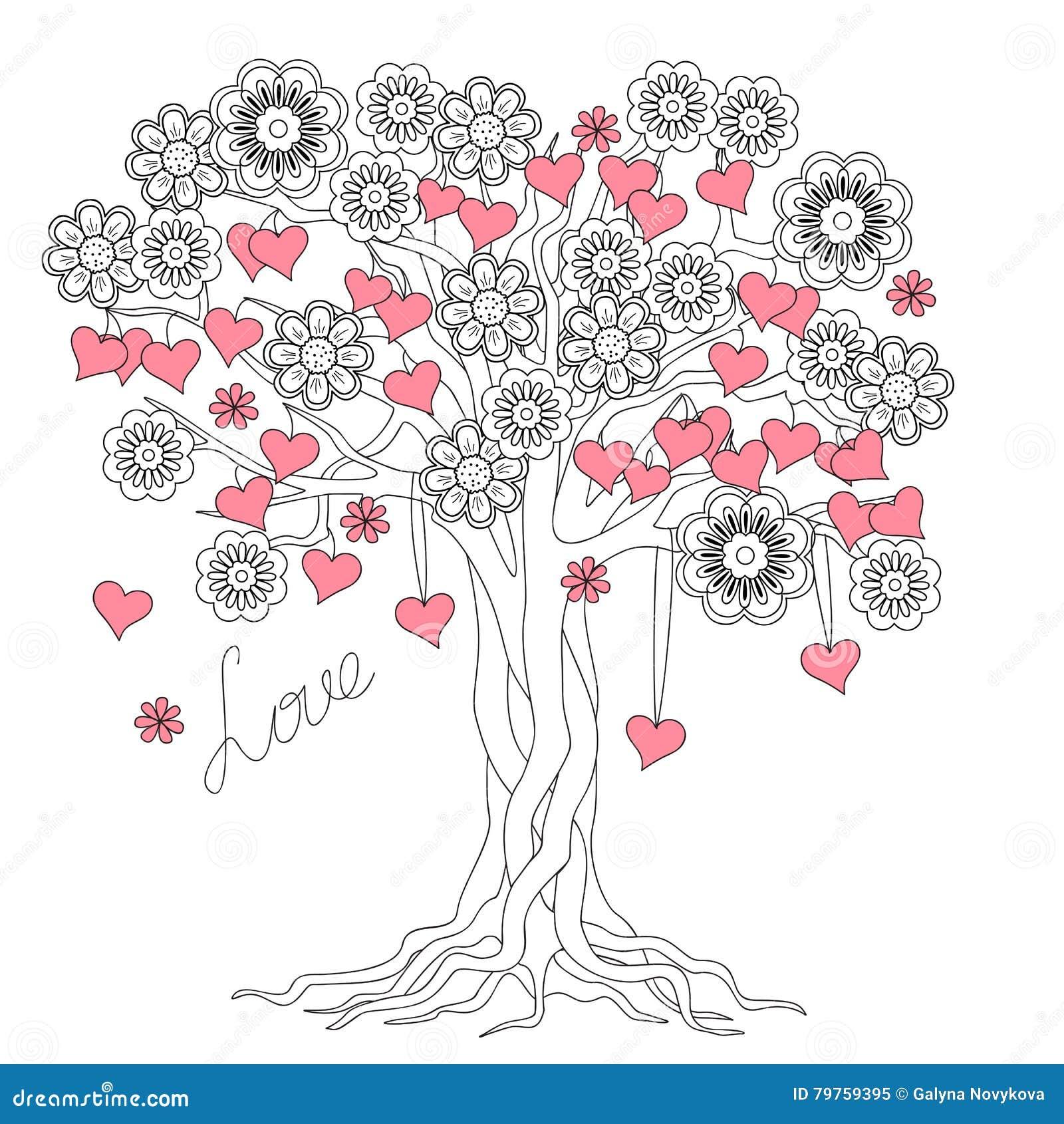Albero Di Amore Con Le Radici Ed I Fiori Illustrazione Vettoriale