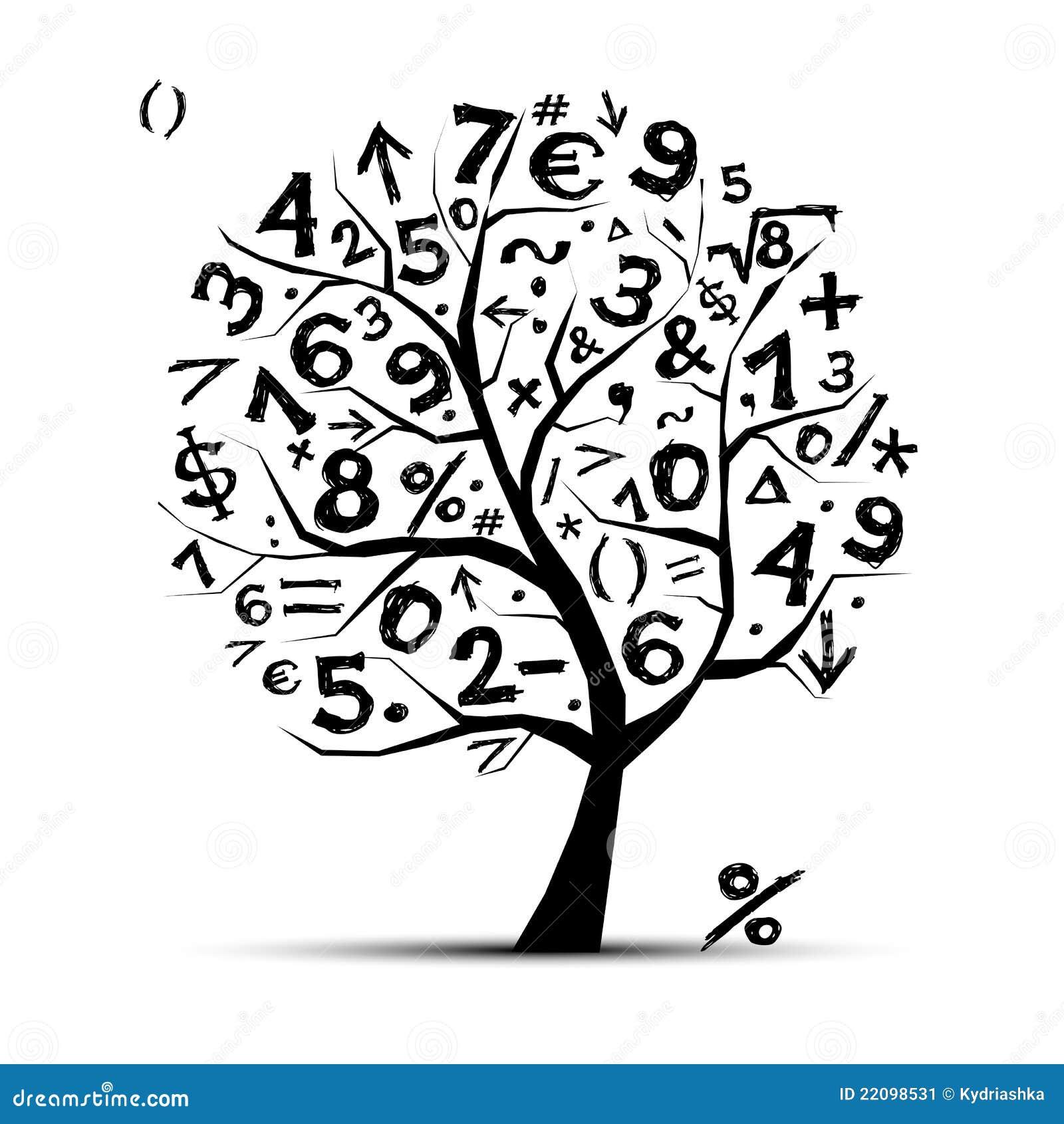 Immagine stock: albero di arte con i simboli di per la matematica per