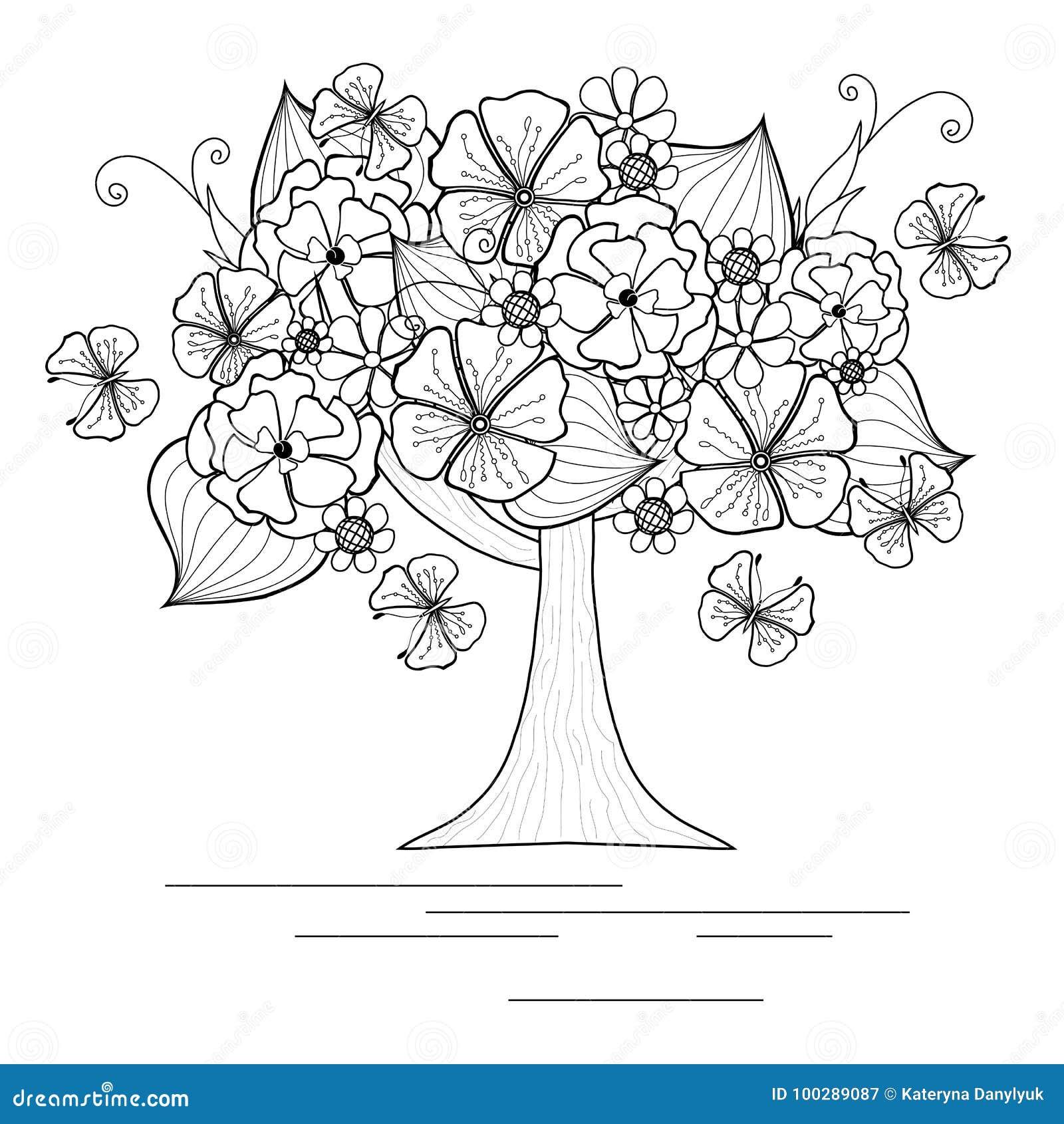 Albero Di Fioritura Con La Farfalla Per Il Libro Da Colorare Illustrazione Vettoriale Illustrazione Di Disegno Stile 100289087