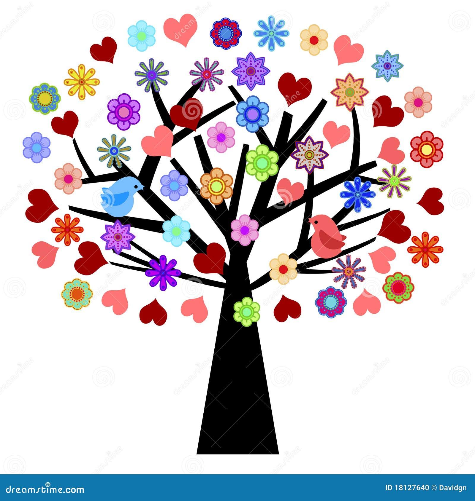 Albero di giorno dei biglietti di s valentino con i fiori for Albero con fiori blu