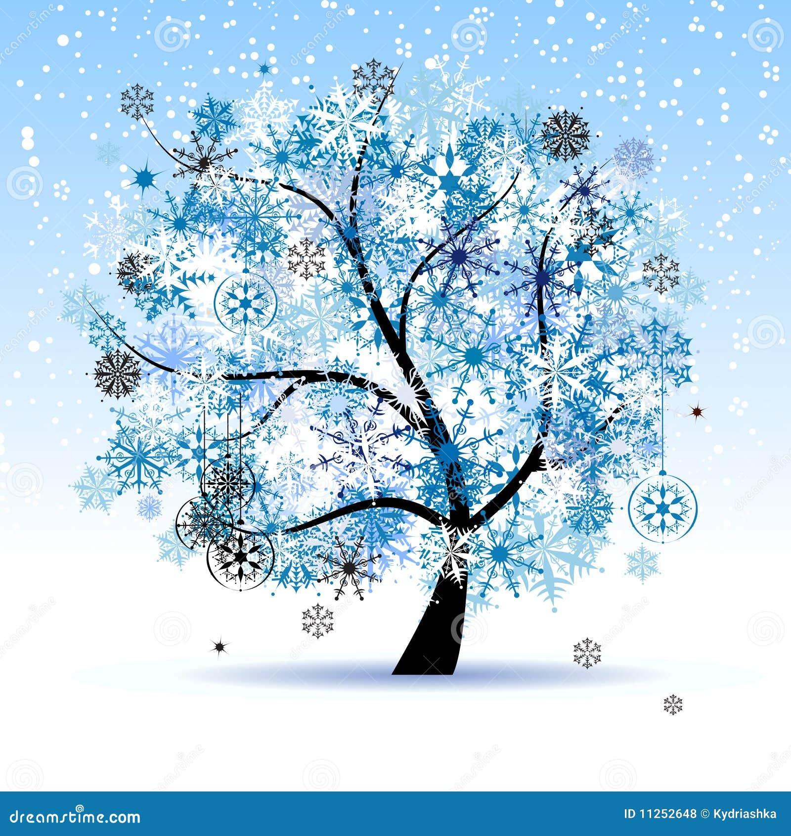 Albero di inverno fiocchi di neve festa di natale - Animali in inverno clipart ...