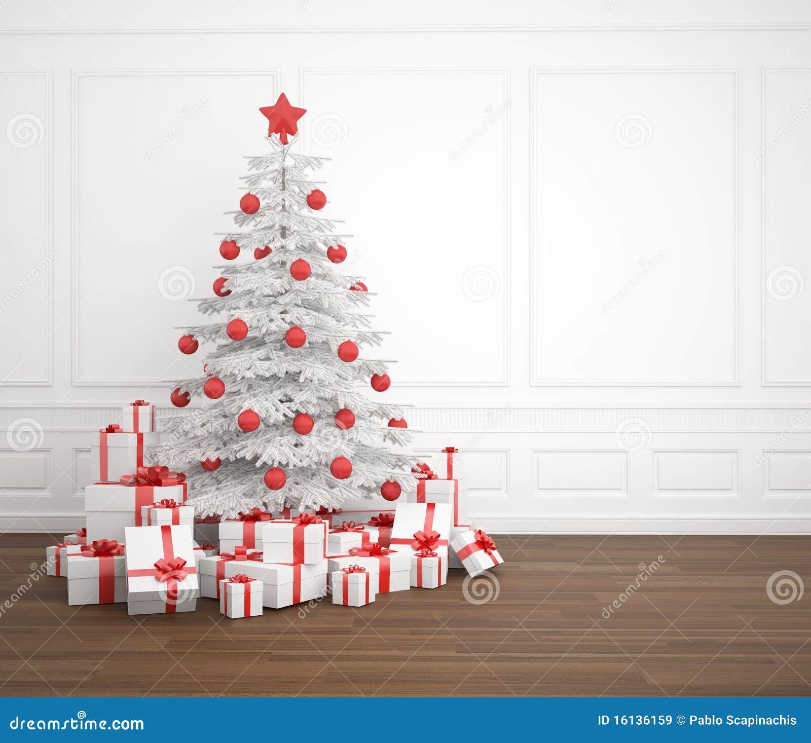 Foto Alberi Di Natale Bianchi albero di natale bianco e rosso illustrazione di stock