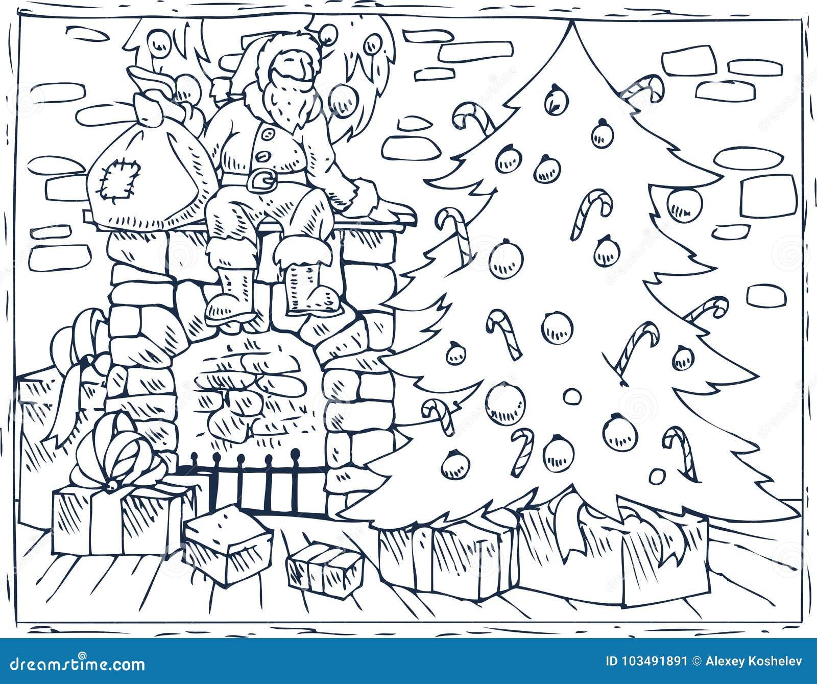 Albero Di Natale Con Regali Da Colorare.Albero Di Natale Camino E Regali Del Libro Da Colorare Illustrazione Vettoriale Illustrazione Di Illustrazione Colore 103491891