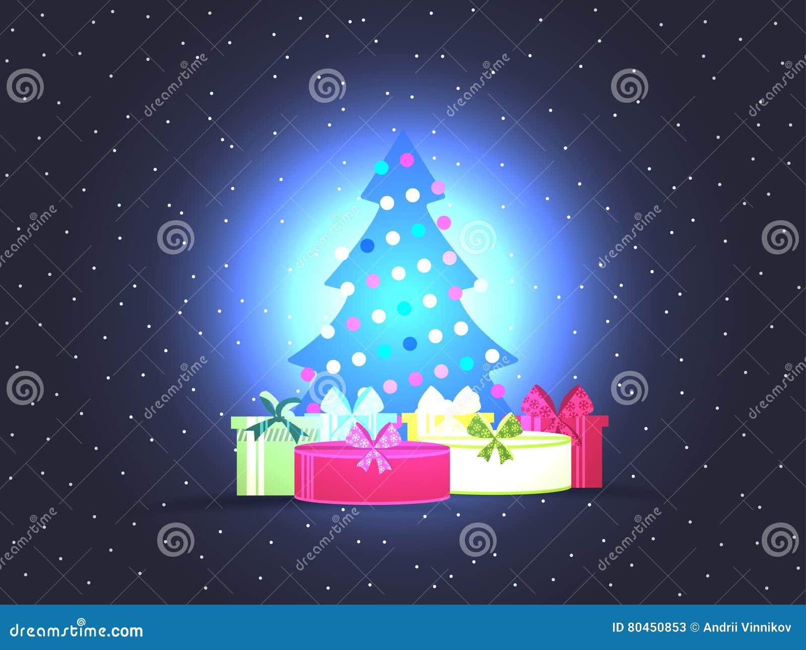Albero di Natale con i contenitori di regalo Manifesto luminoso di natale Vettore