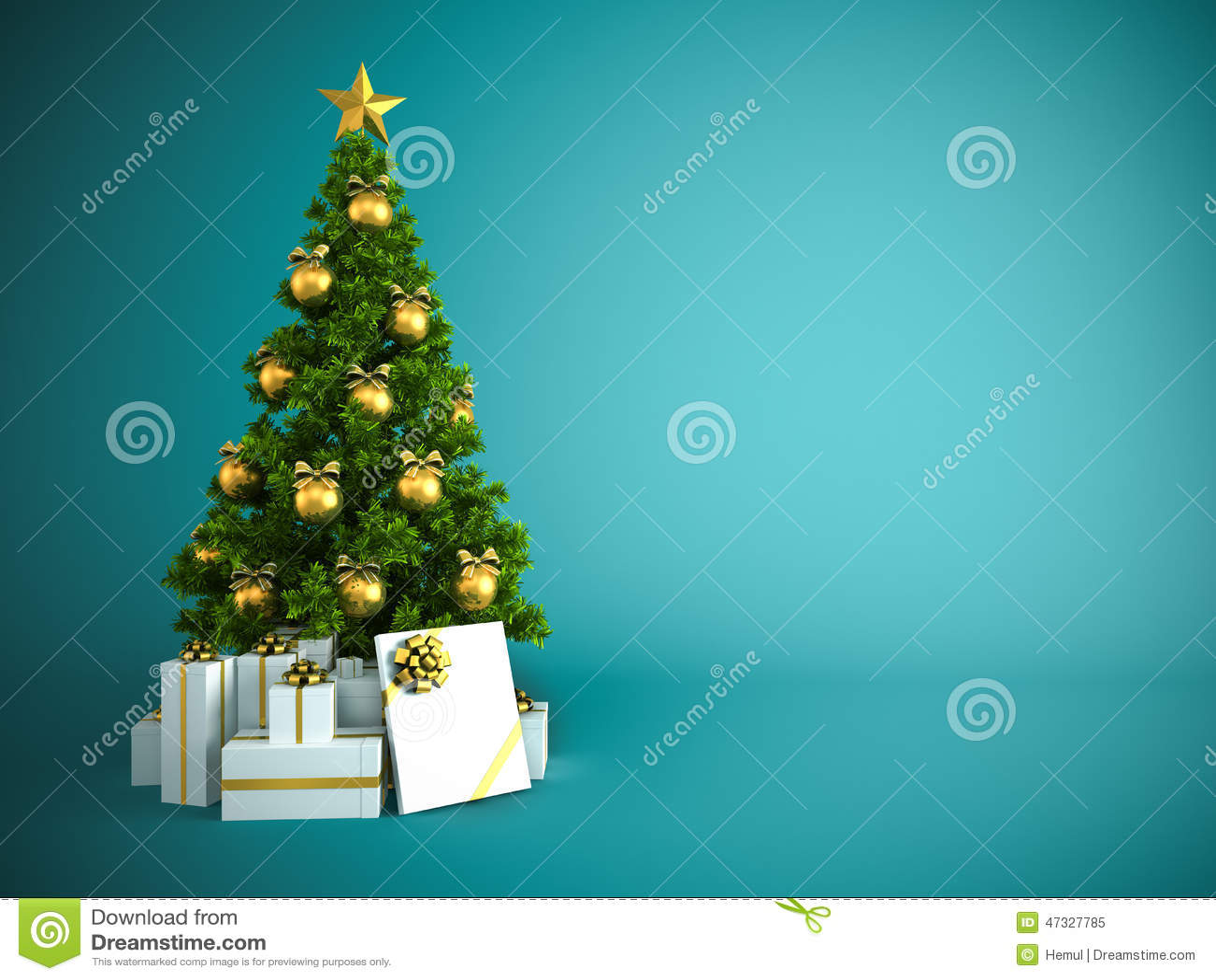 Albero Di Natale Con Decorazioni Blu : Albero di natale con la decorazione dell oro su fondo blu