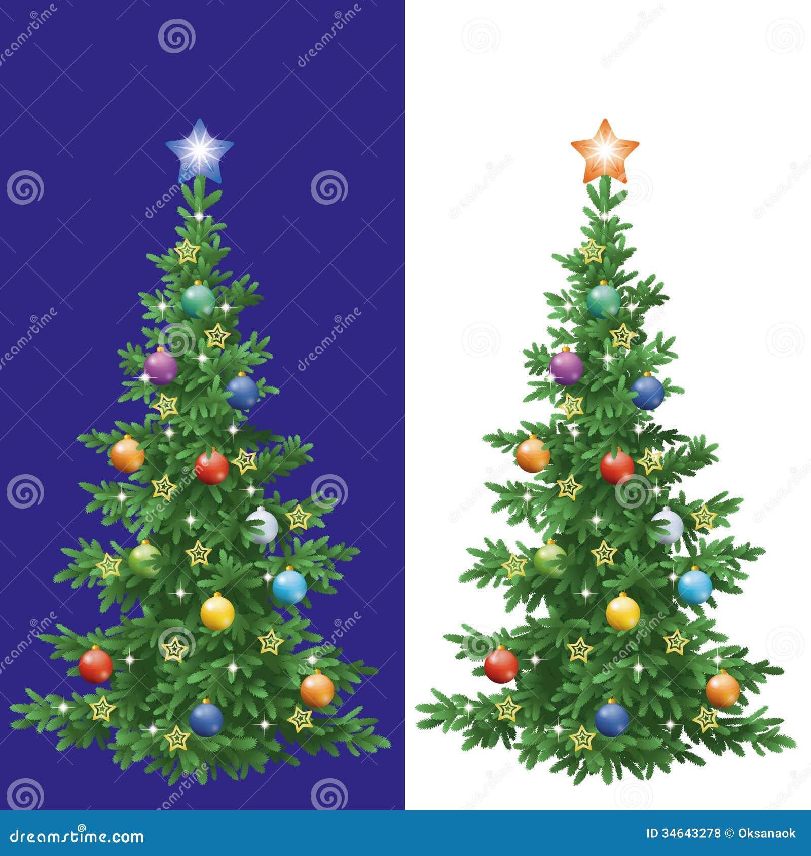 Albero di natale con le decorazioni illustrazione - Decorazioni albero di natale ...
