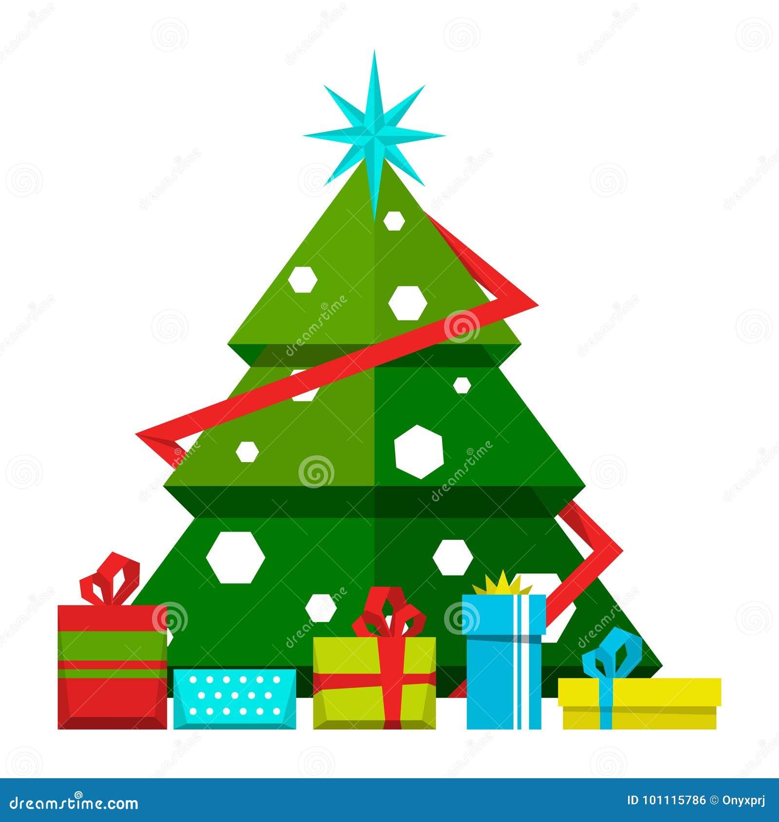 Immagini Stilizzate Di Natale.Albero Di Natale Con Le Decorazioni Ed I Regali Differenti