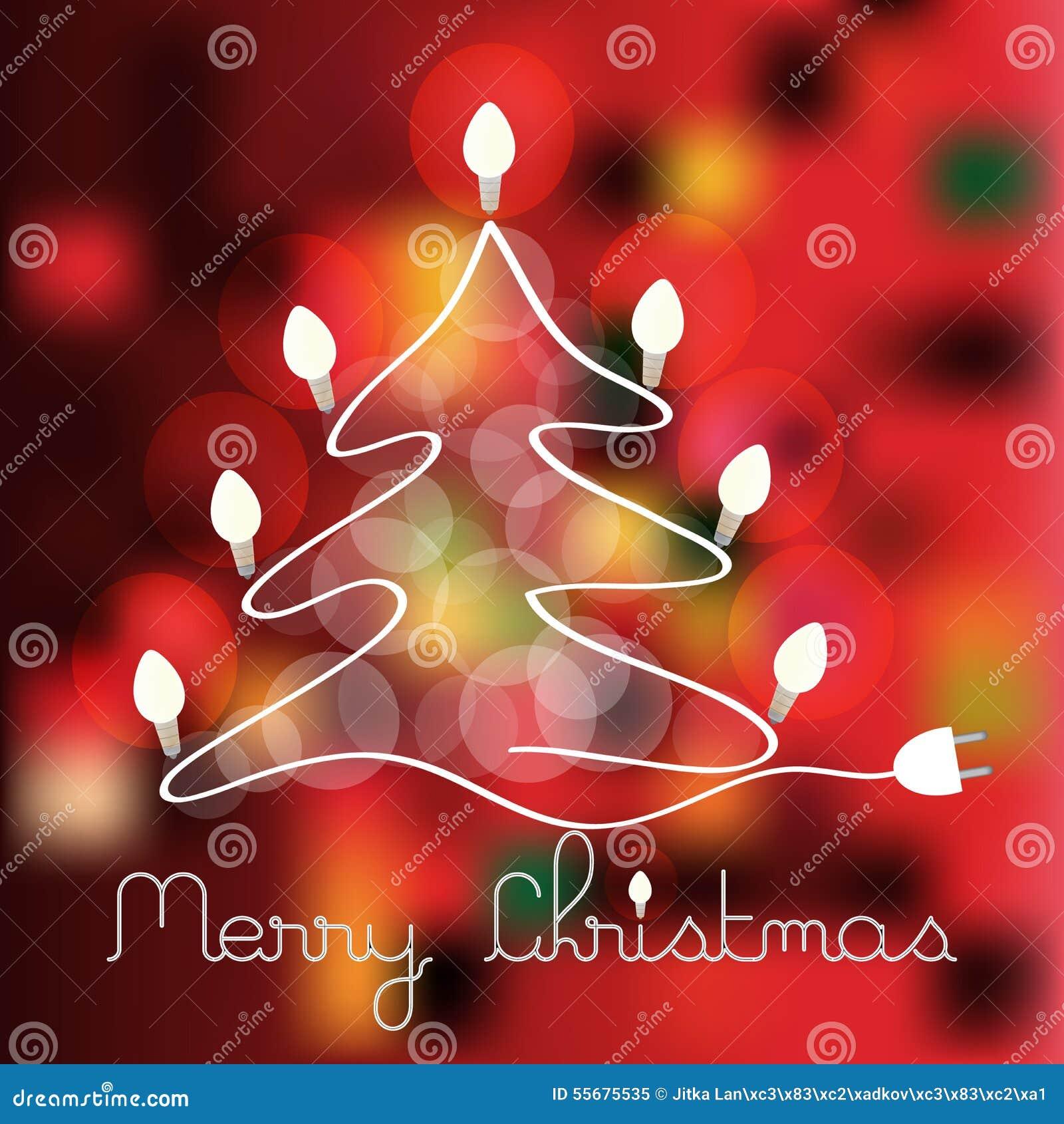Albero Di Natale Con Le Lampadine Illustrazione Vettoriale - Immagine: 55675535