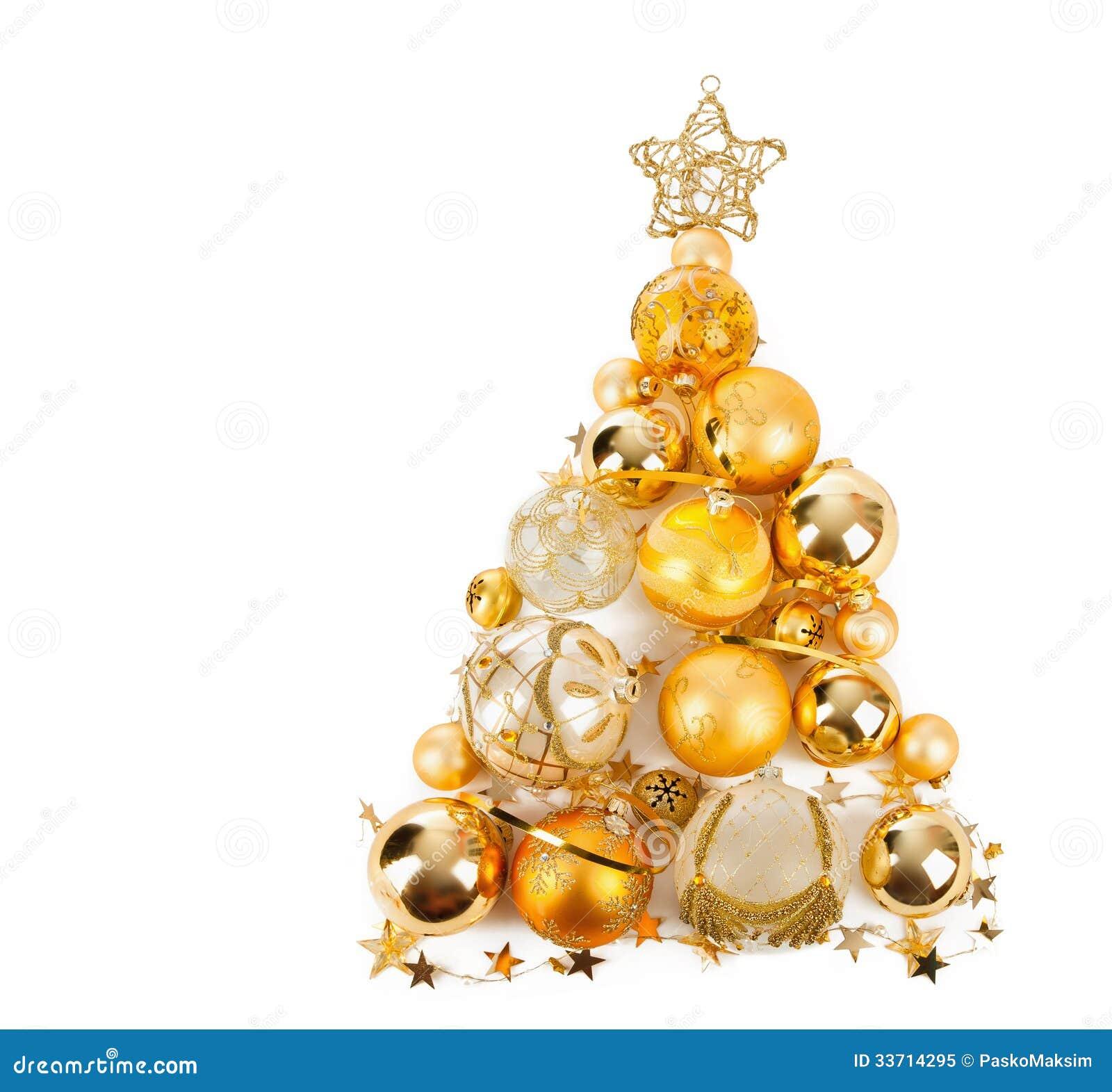 Albero di natale con le palle dorate immagine stock for Immagini natale stilizzate