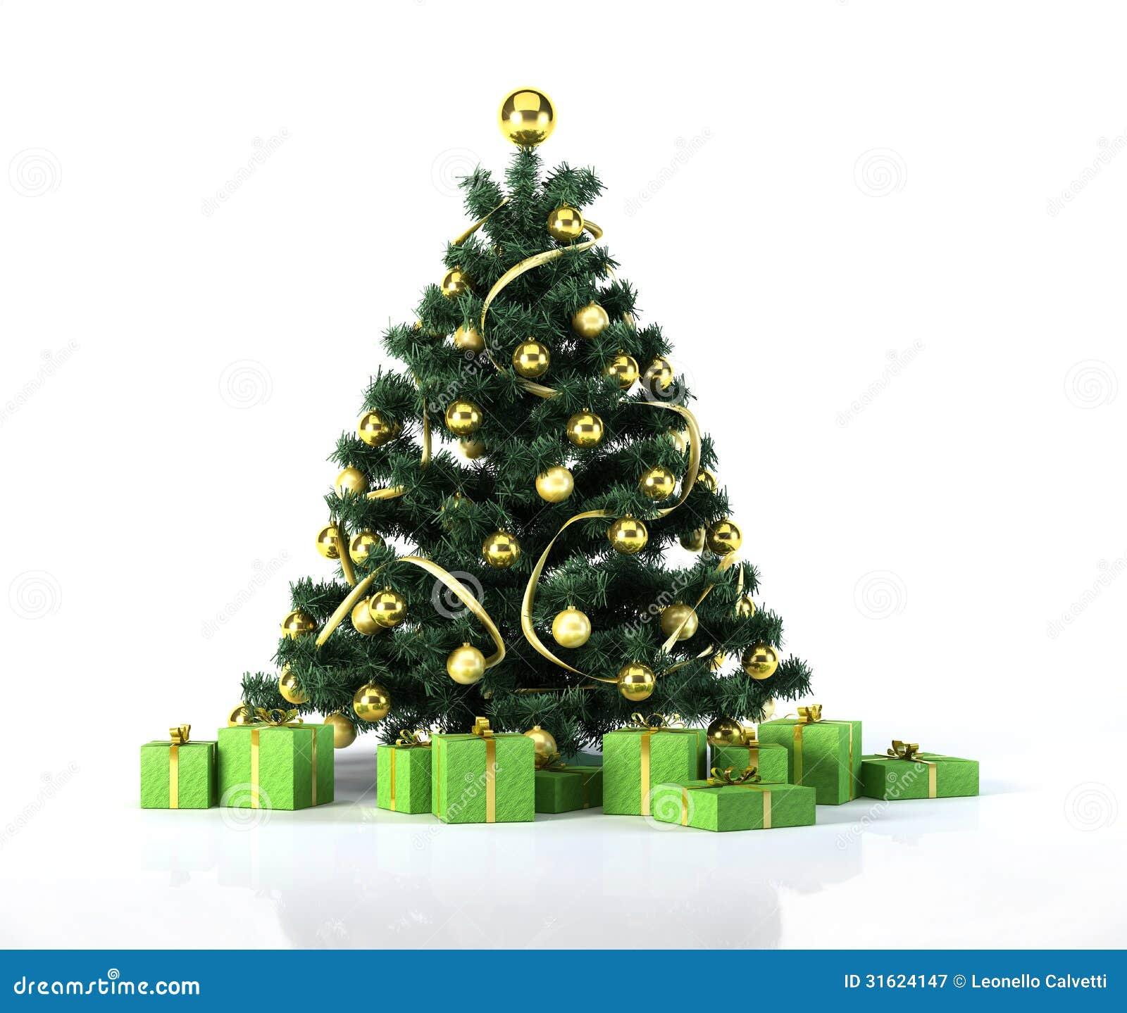 Albero di natale con le palle dorate la decorazione ed i - Immagine di regali di natale ...